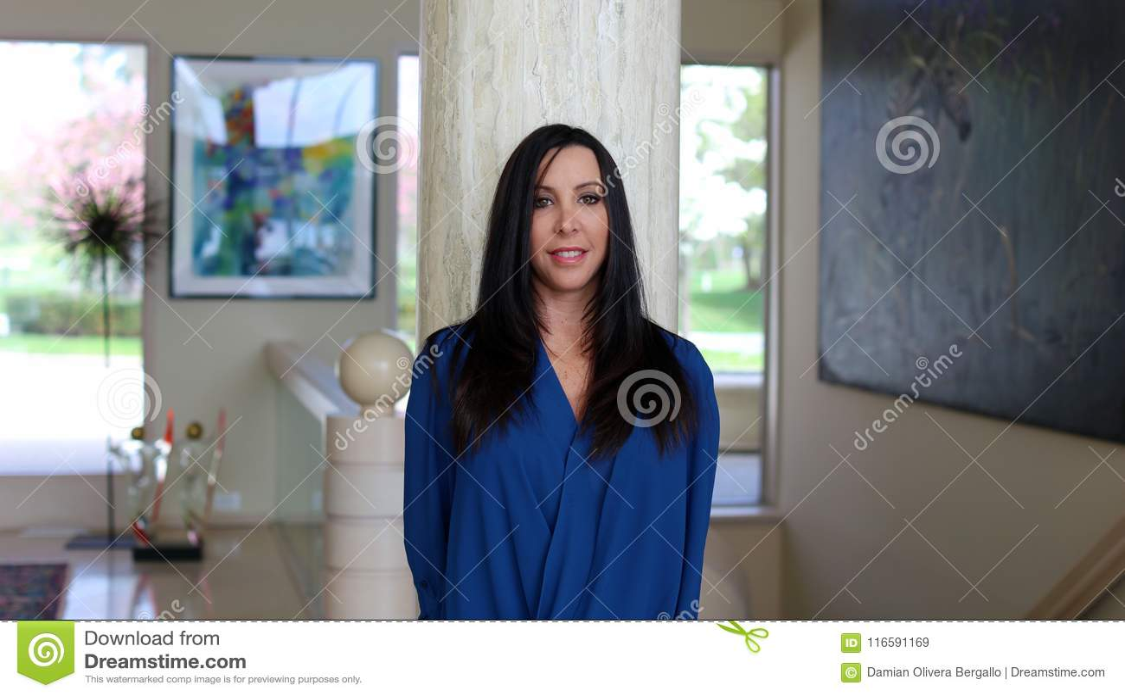 华美的黑发妇女微笑与美丽的蓝色衬衣的,专业心理学家在艺术装饰屋子