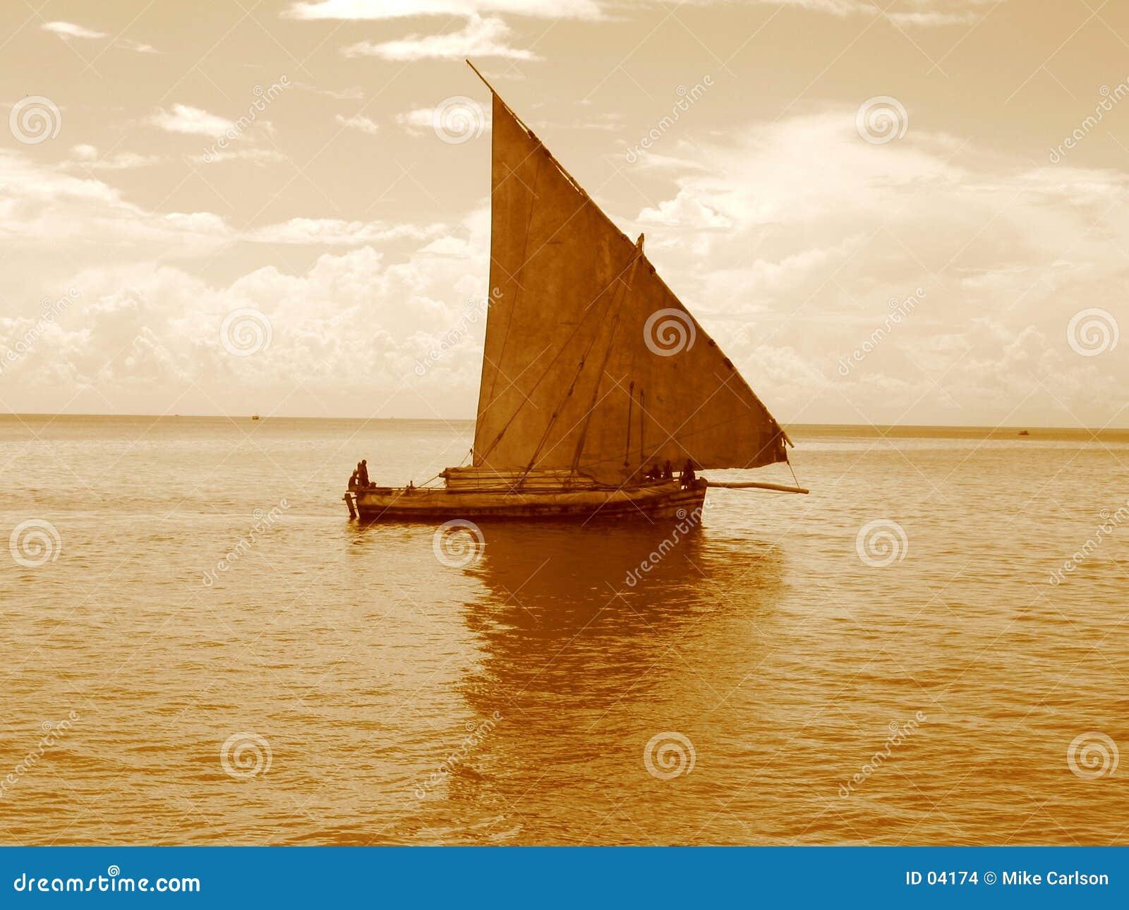 单桅三角帆船航行