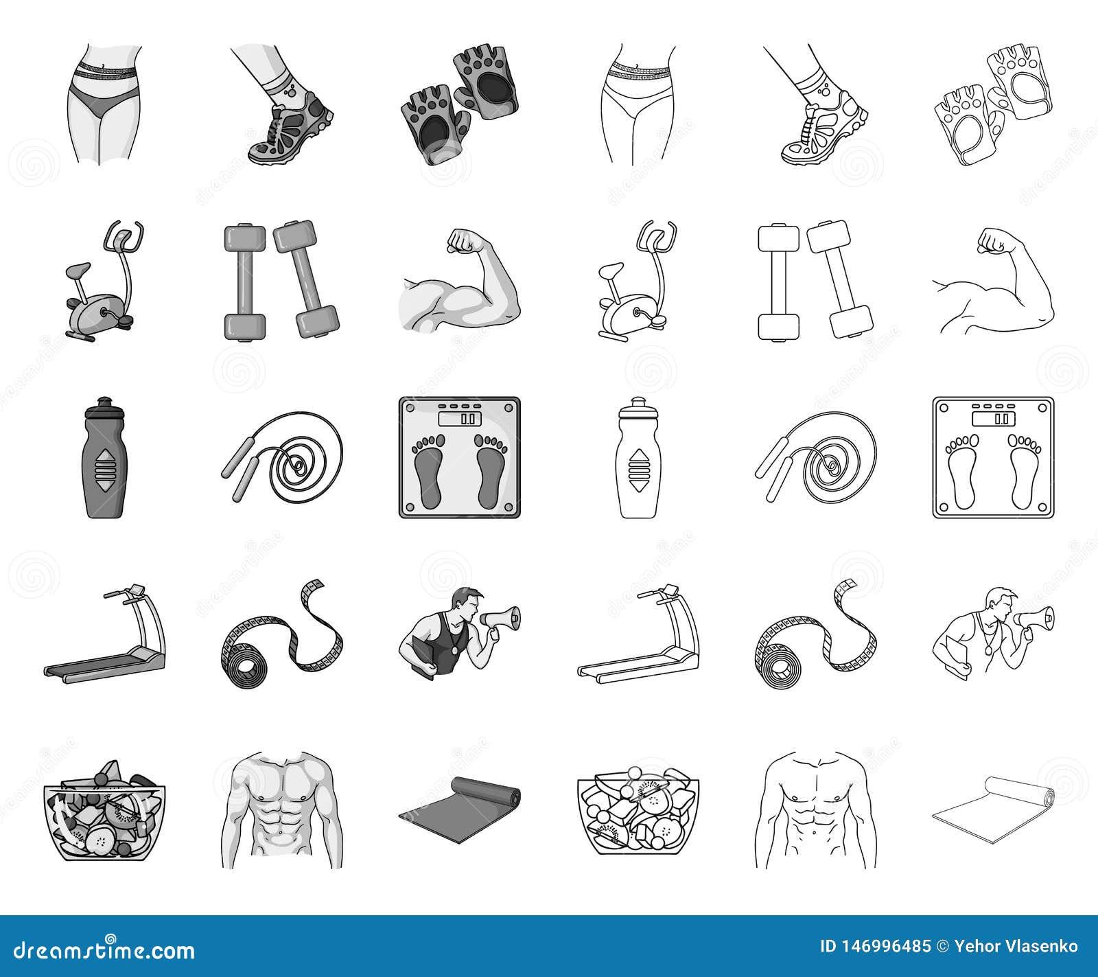 单音的健身和的属性,在集合收藏的概述象的设计 健身设备传染媒介标志股票网
