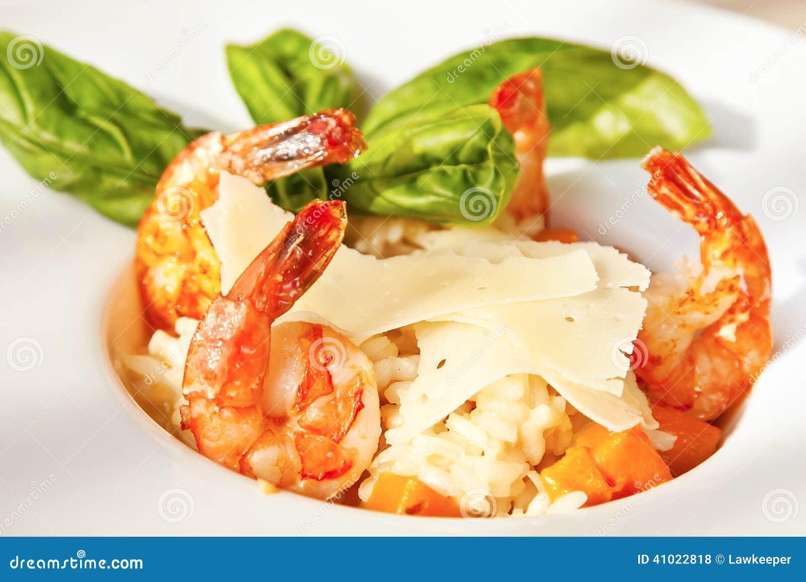 南瓜意大利煨饭用大虾图片