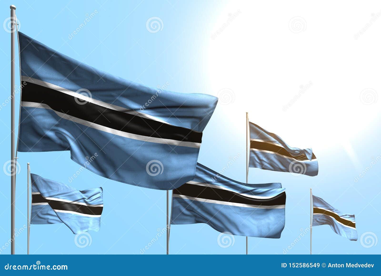 博茨瓦纳的美丽的5面旗子是在天空蔚蓝背景-所有庆祝旗子3d例证的波浪