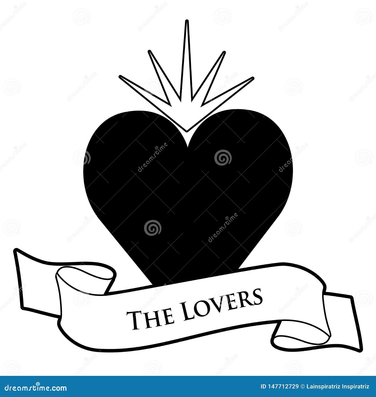 占卜用的纸牌概念 ?? 在白色背景隔绝的心脏和文本横幅