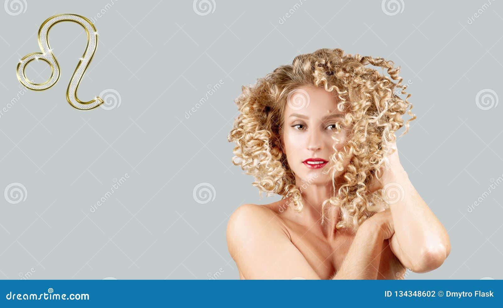 占星术和占星,利奥黄道带标志 美丽的卷发妇女
