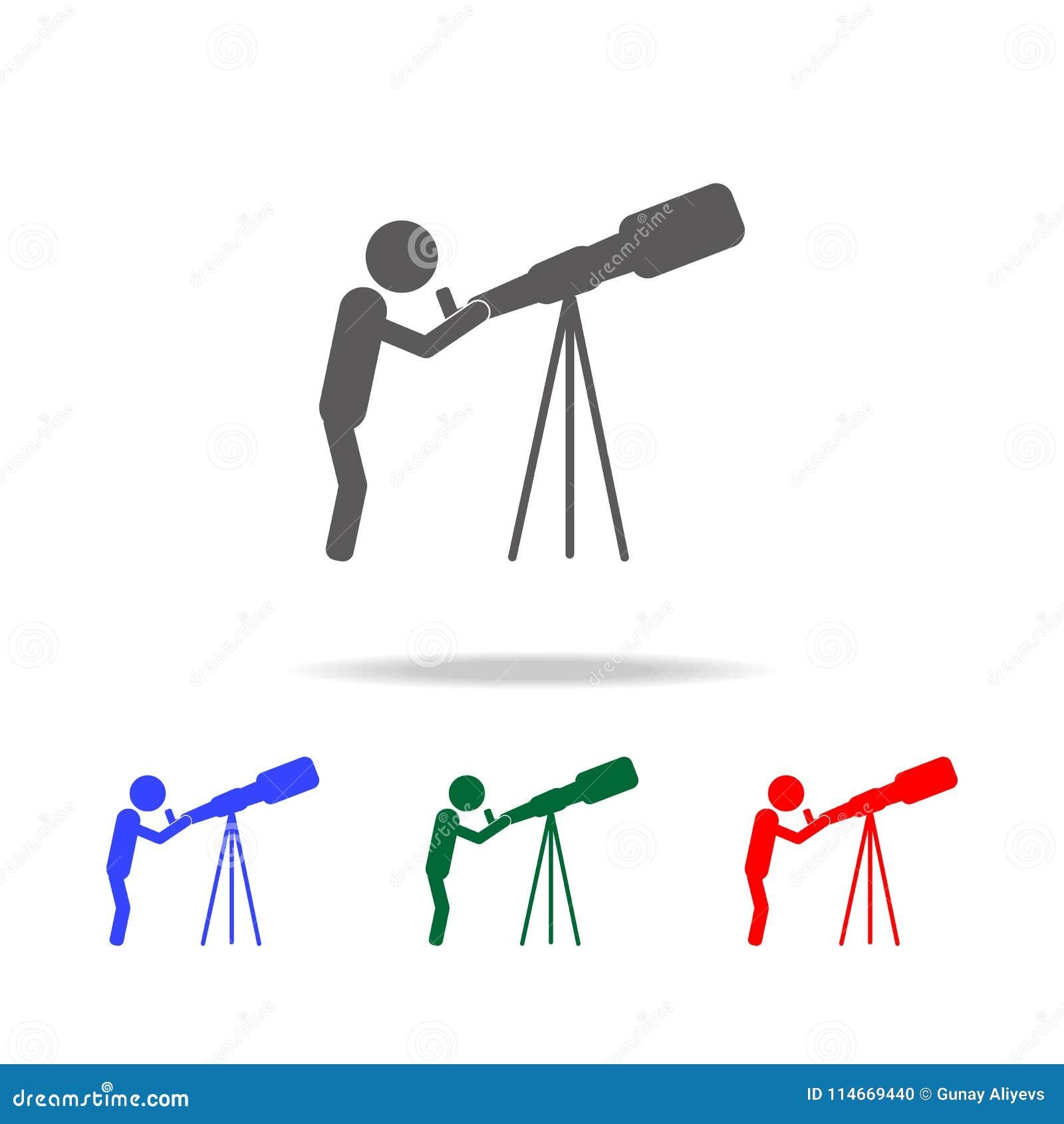 占星术 看通过望远镜象的科学家 人行业的元素在多色的象的 优质质量图表