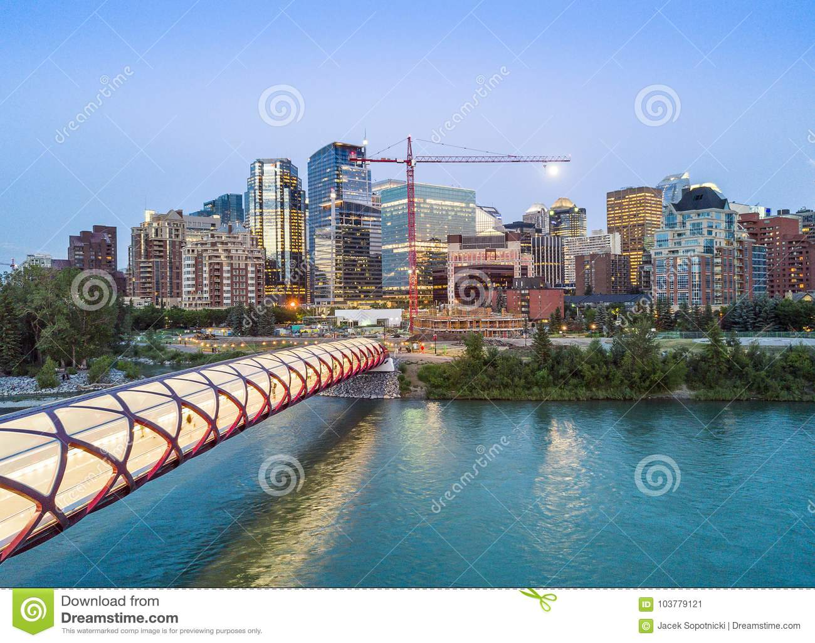 卡尔加里街市与iluminated和平桥梁,亚伯大,加拿大
