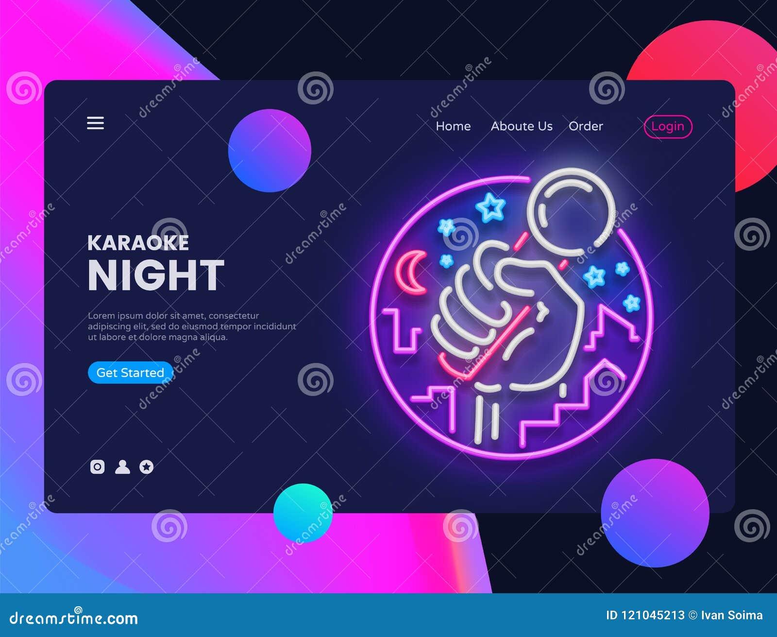 卡拉OK演唱霓虹水平的网横幅传染媒介 实况音乐广告横幅在现代趋向设计的网接口,氖