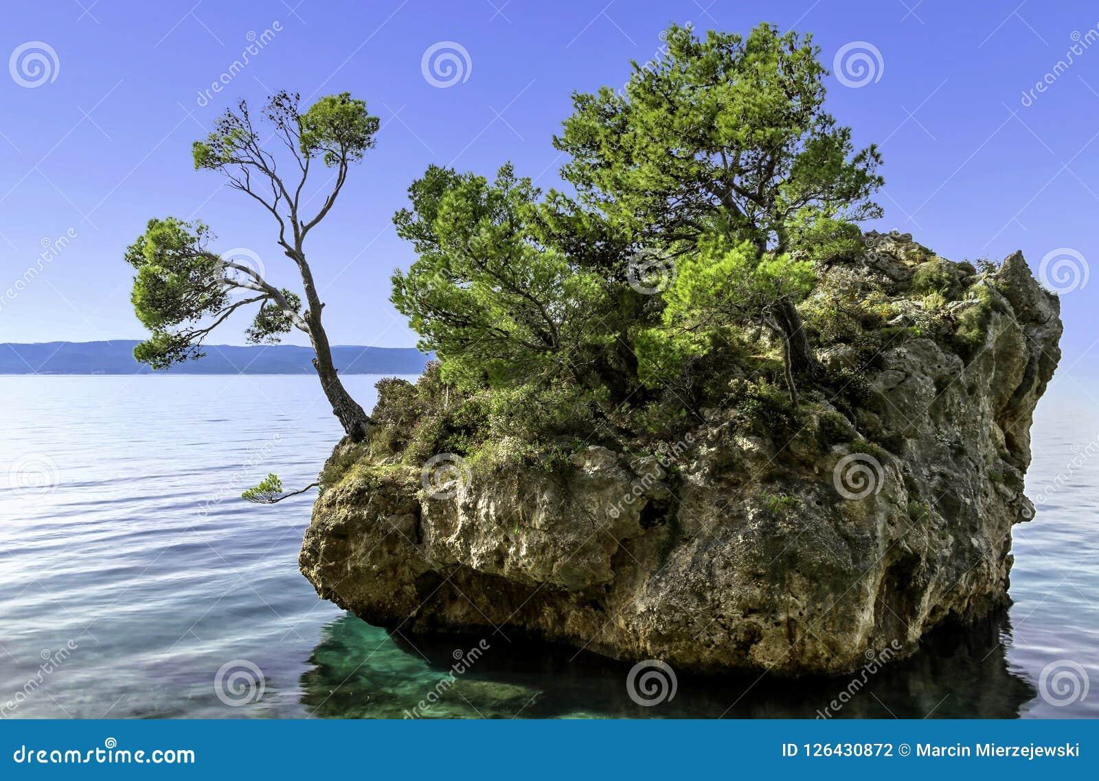 卡梅尼火山Brela -小著名海岛在Brela,马卡尔斯卡里维埃拉,克罗地亚