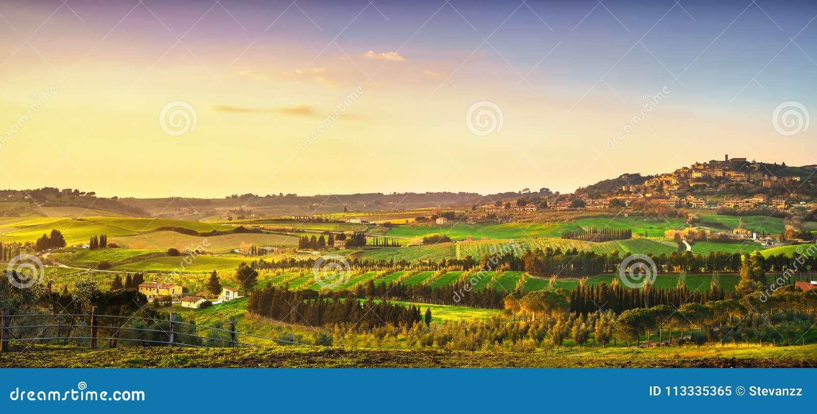 卡萨莱马里蒂莫村庄、葡萄园和风景在Maremma Tu
