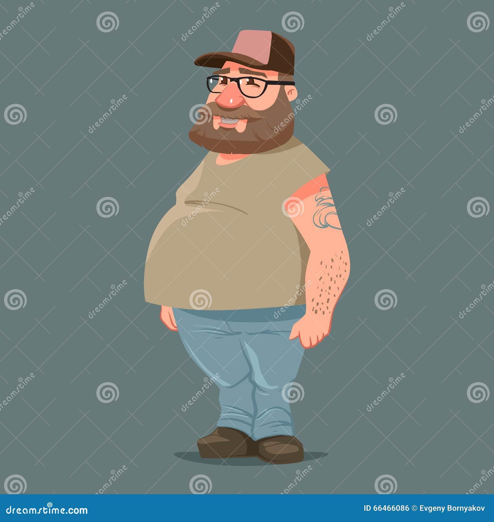 滑稽的漫画人物,与胡子的卡车司机在卡车司机盖帽,彩色插图.图片