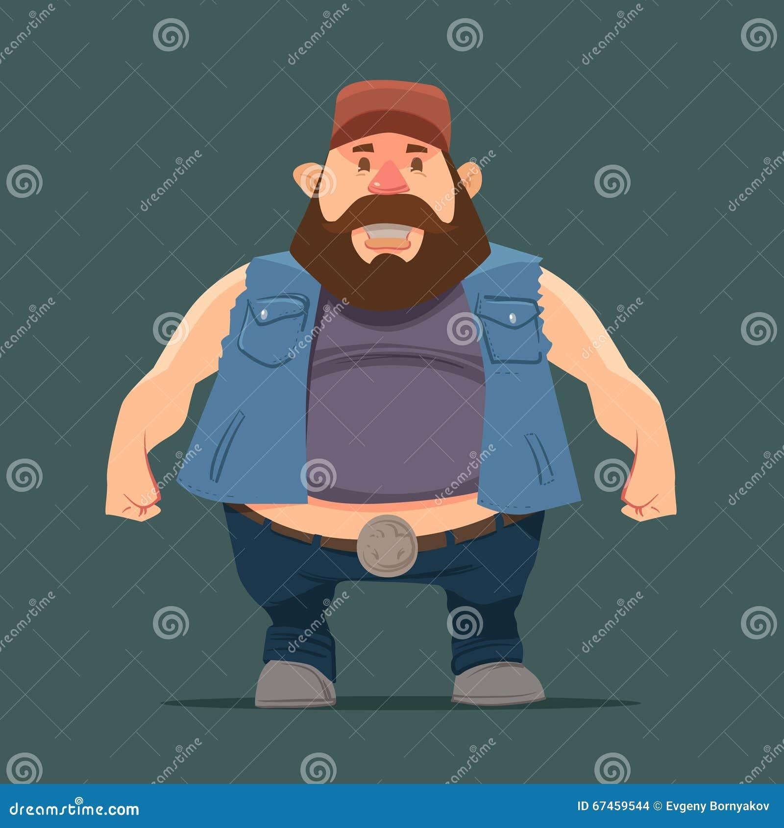 滑稽的漫画人物,与胡子的卡车司机在卡车司机盖帽,传染媒介彩色插图.图片