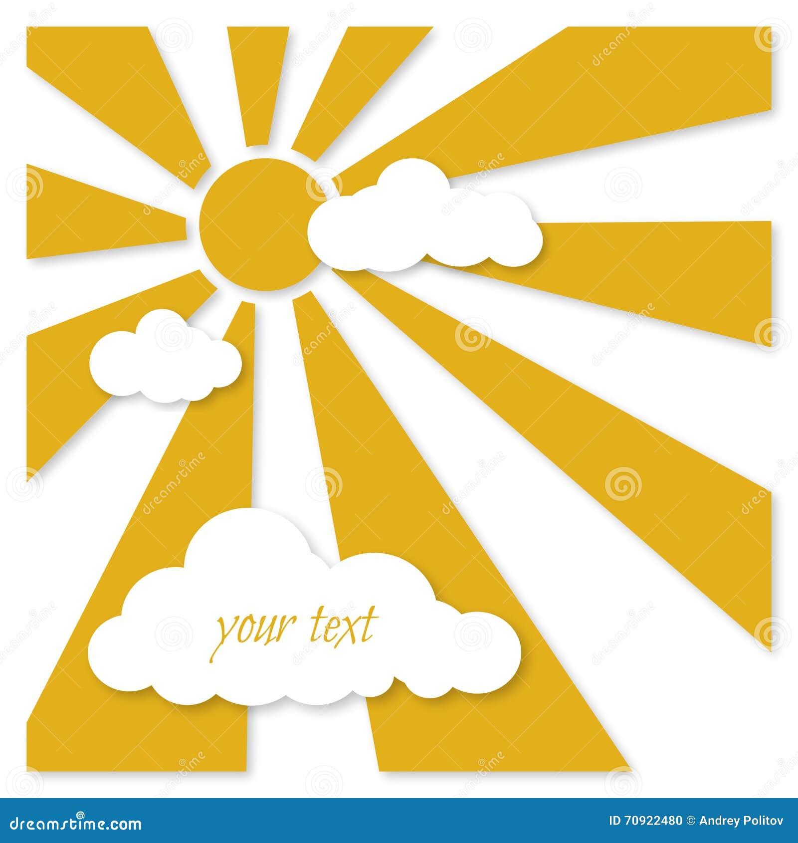 贺卡-与云彩的黄色太阳
