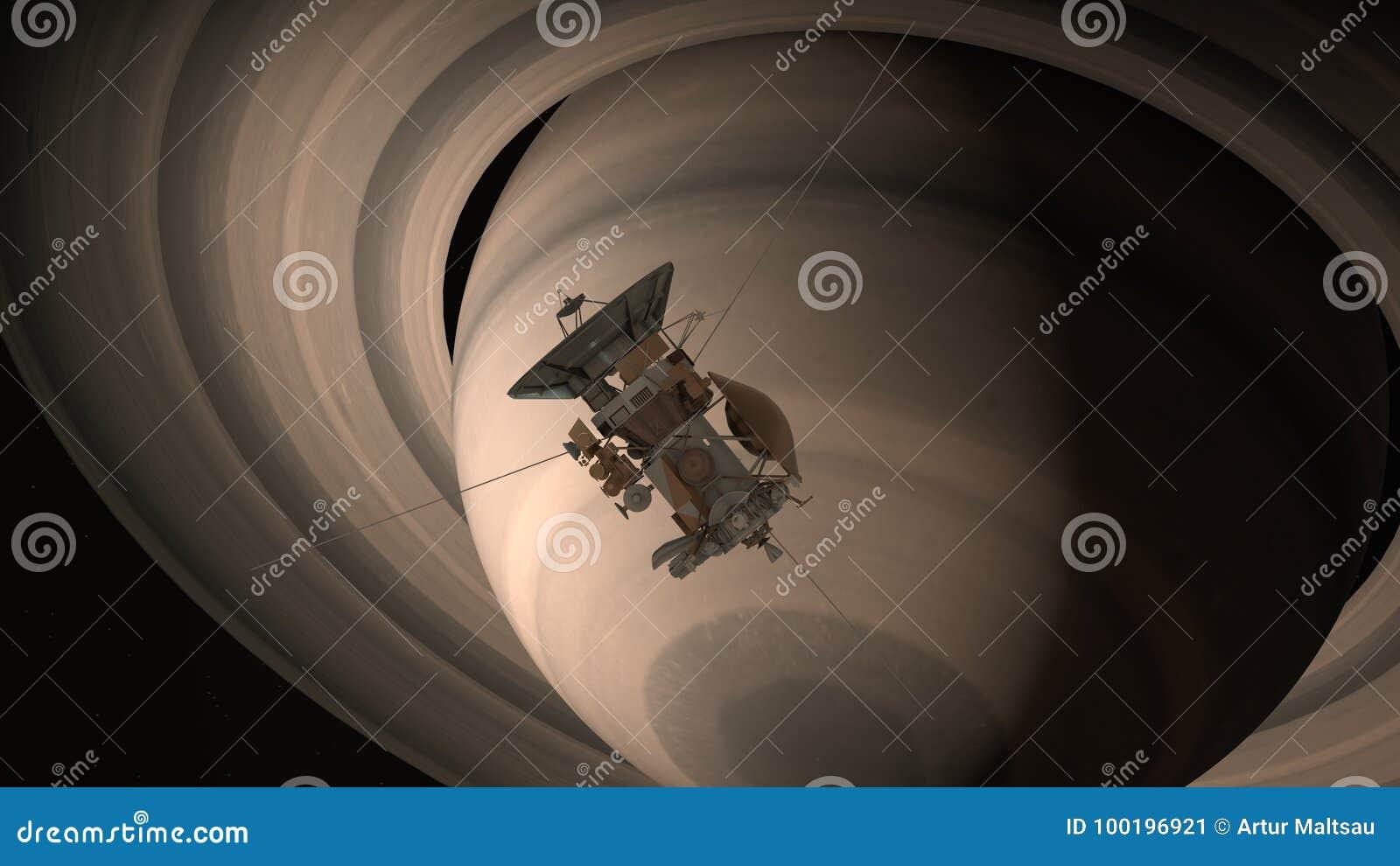 卫星卡西尼接近土星 卡西尼惠更斯是一台无人航天器被送到行星土星 CG动画 Elemen
