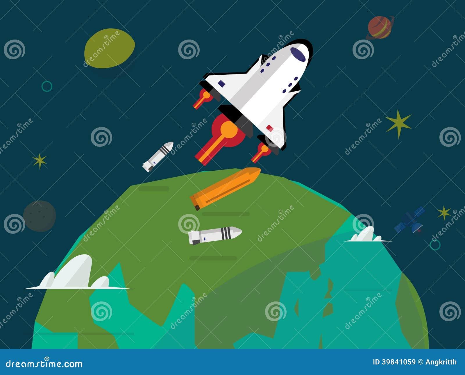 航天飞机发射-例证.