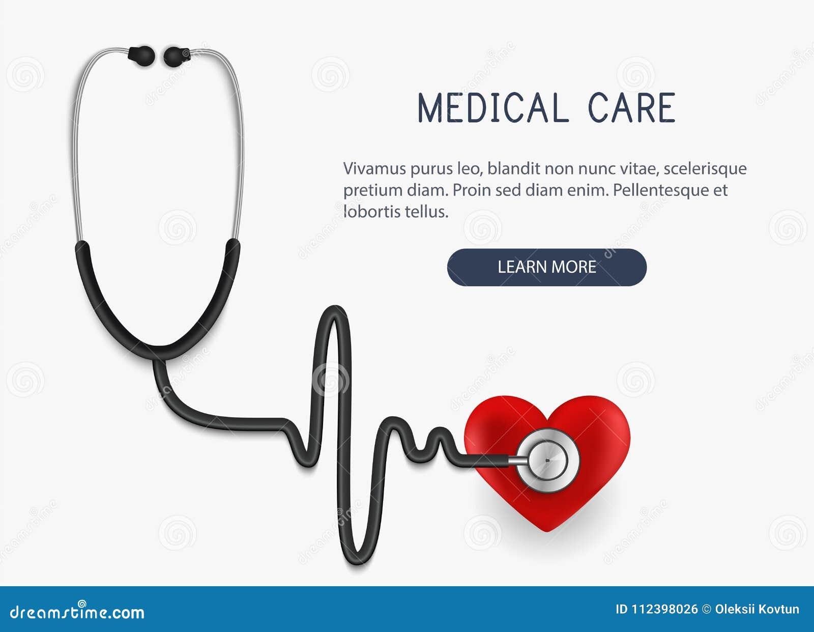 卫生保健 现实听诊器象和心脏 也corel凹道例证向量