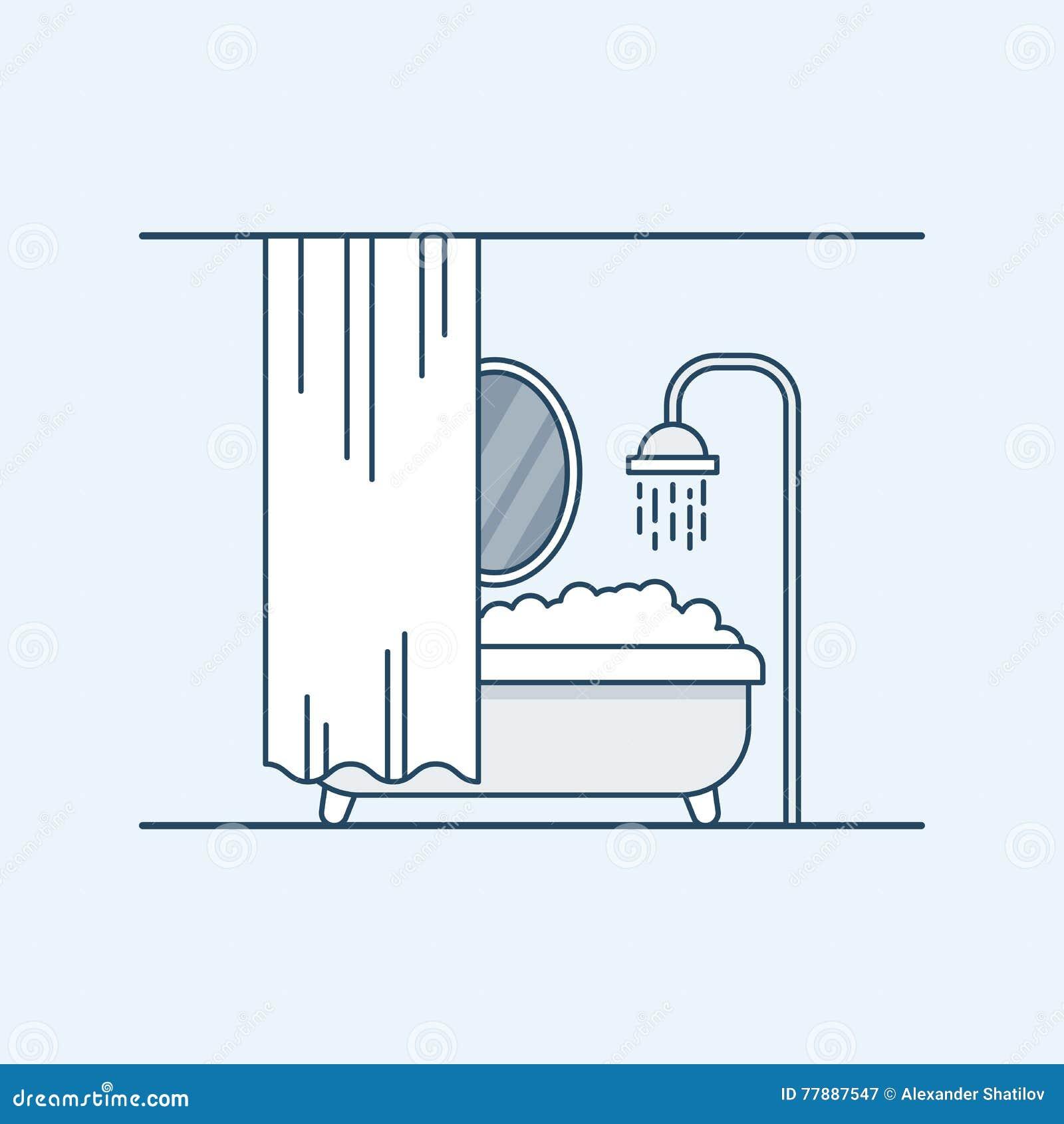 卫生间或浴室的现代室内设计 有泡沫和被操刀的镜子快门的卫生间 也corel凹道例证向量