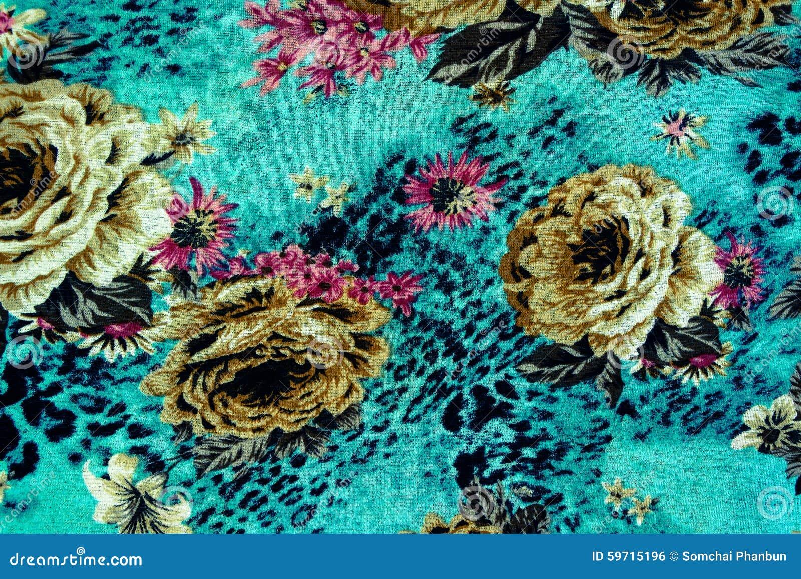 印刷品织品纹理镶边豹子和花