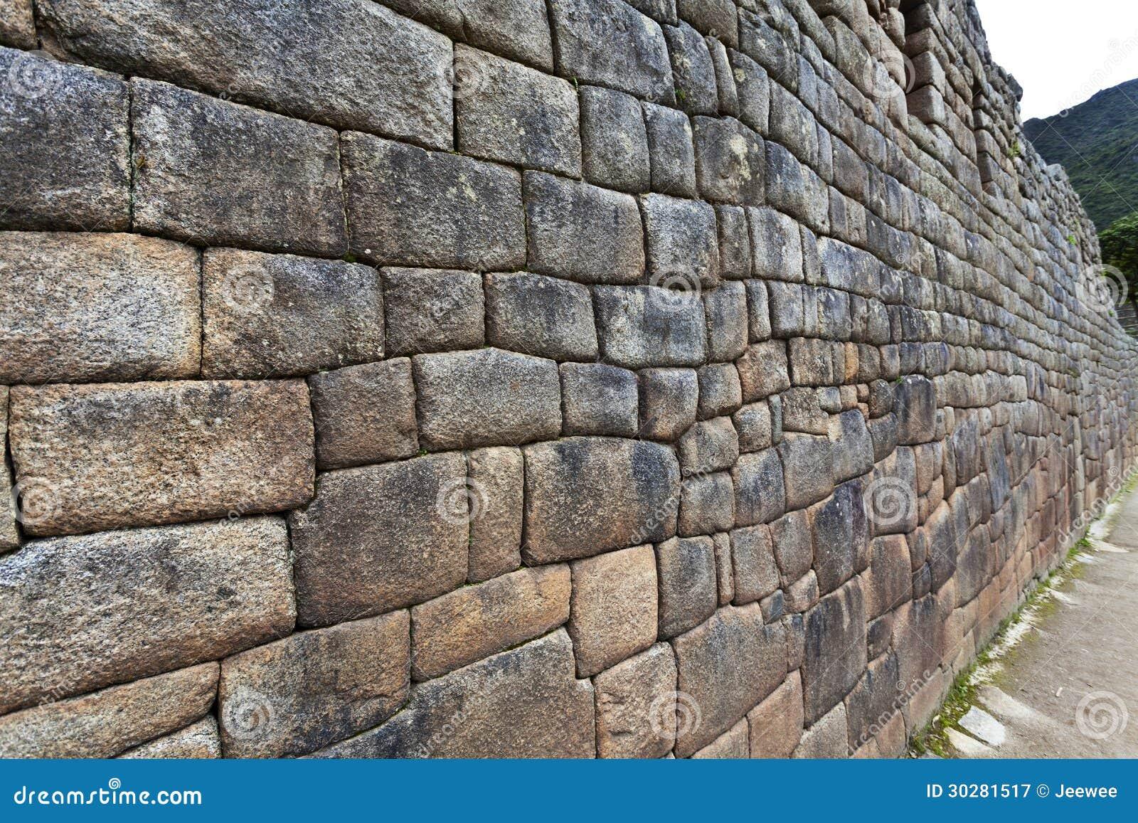 印加人墙壁在马丘比丘,秘鲁