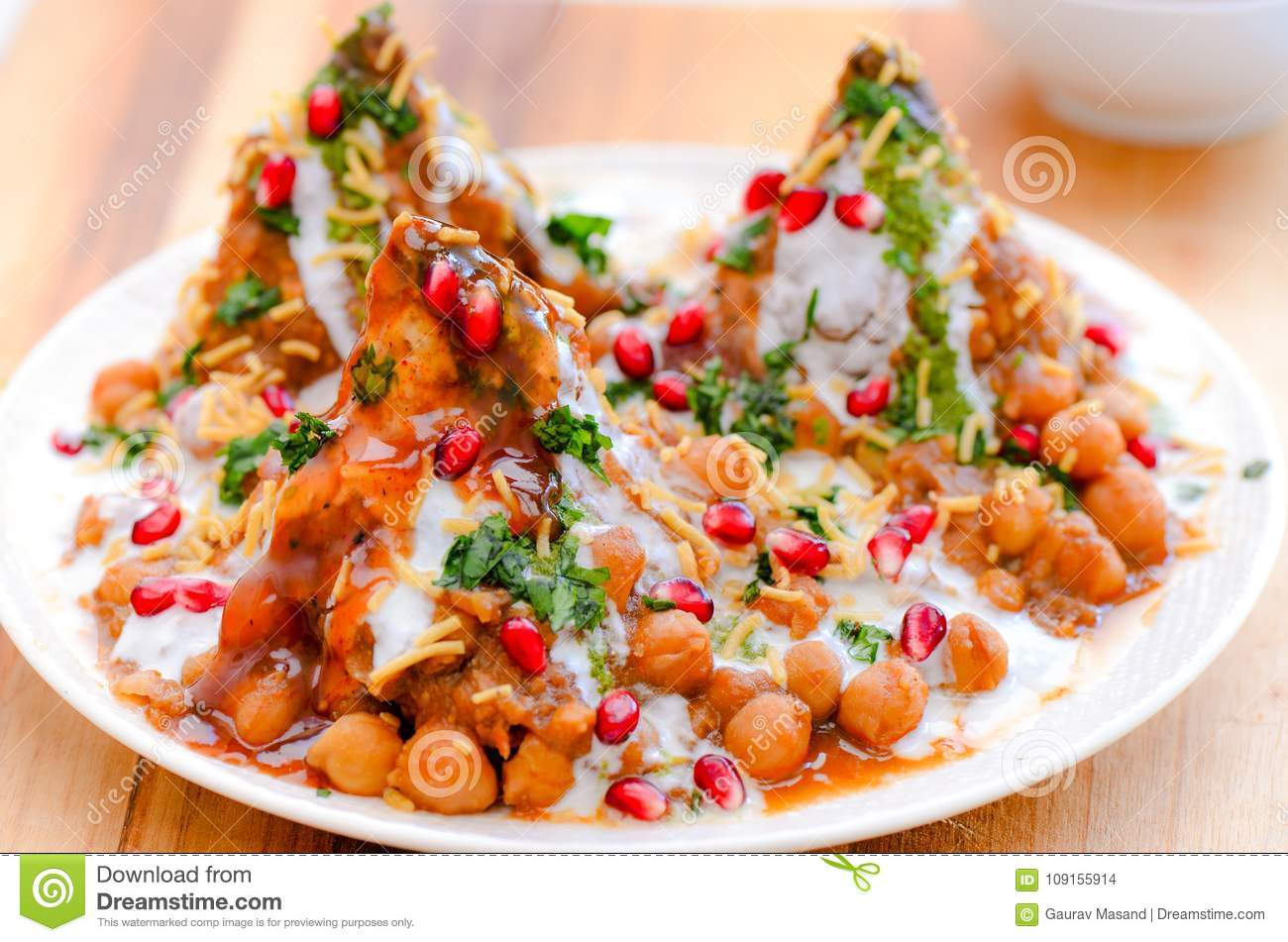 印地安快餐chole samosa chaat