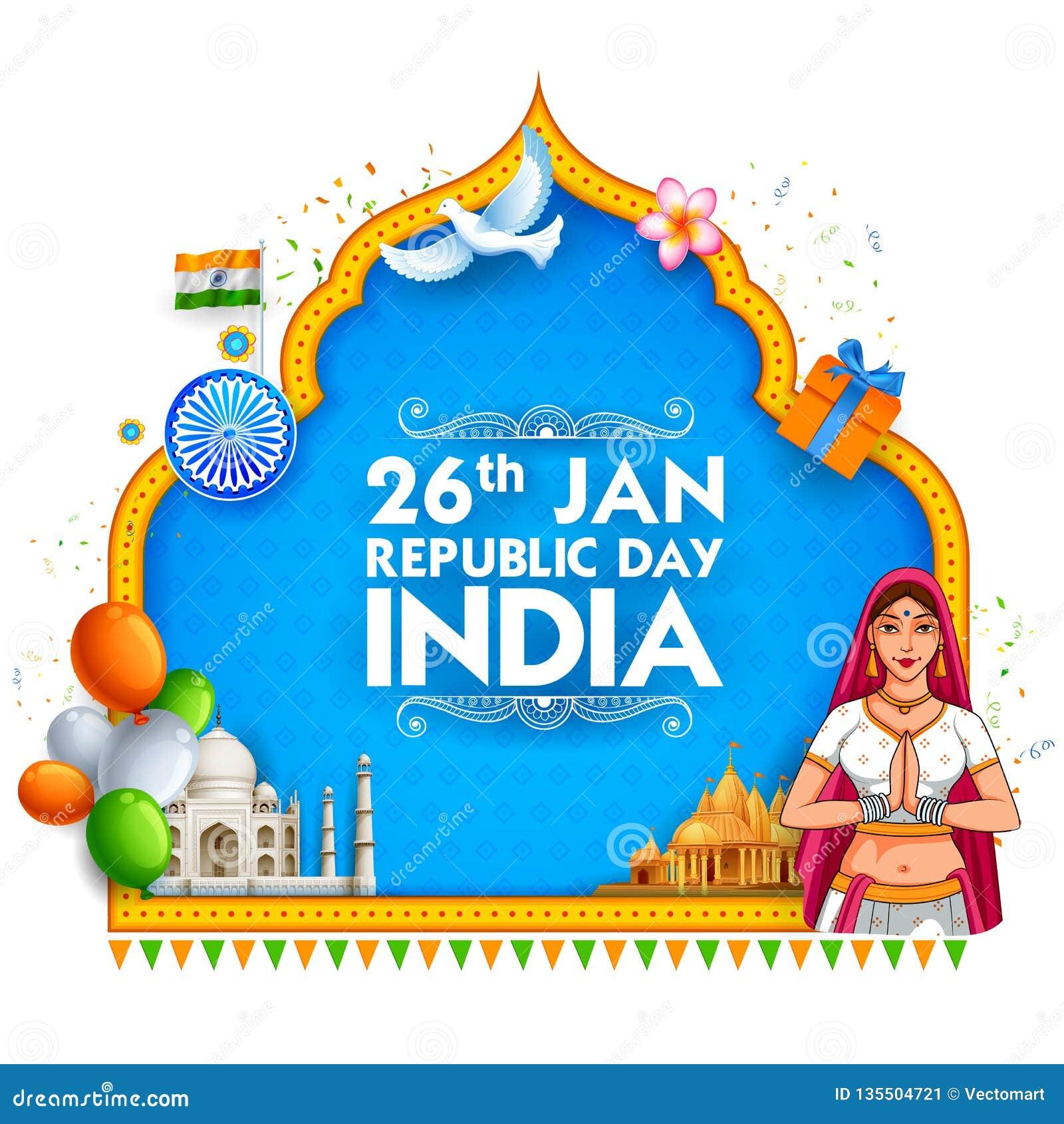 印地安旗子三色莎丽服的夫人为1月26日印度的愉快的共和国天