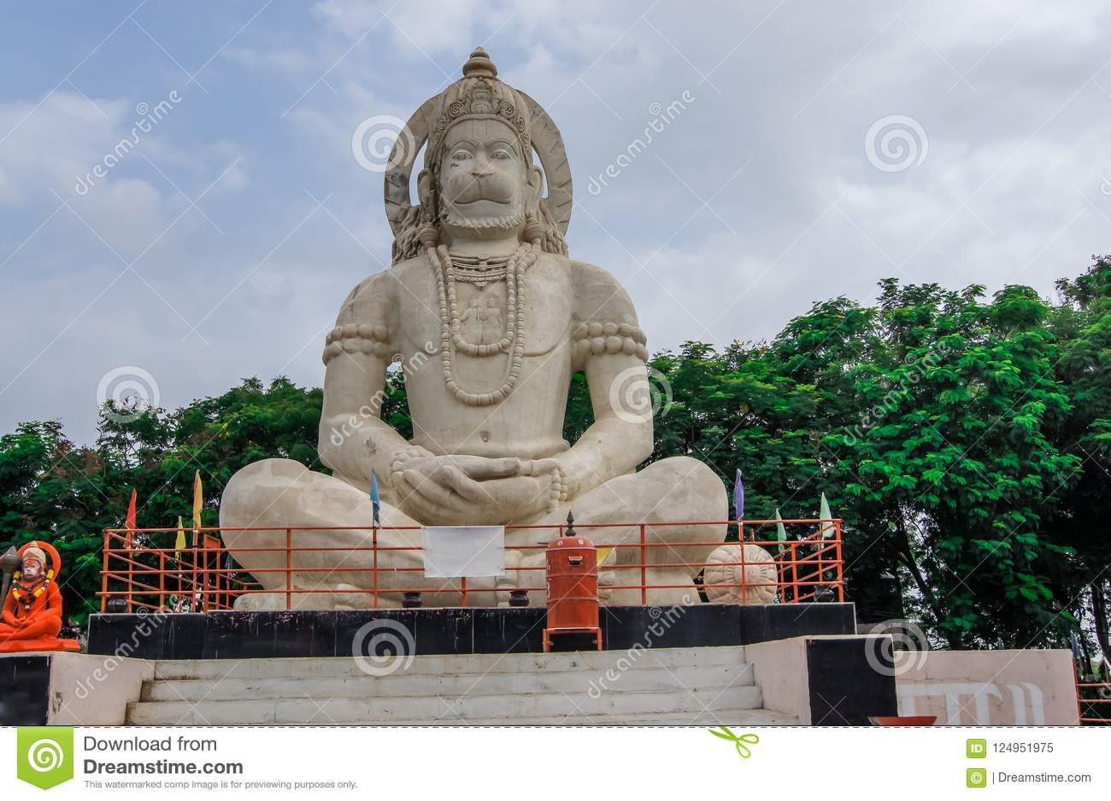 印度上帝Hanuman神象,印地安阁下Hanuman巨大的雕象