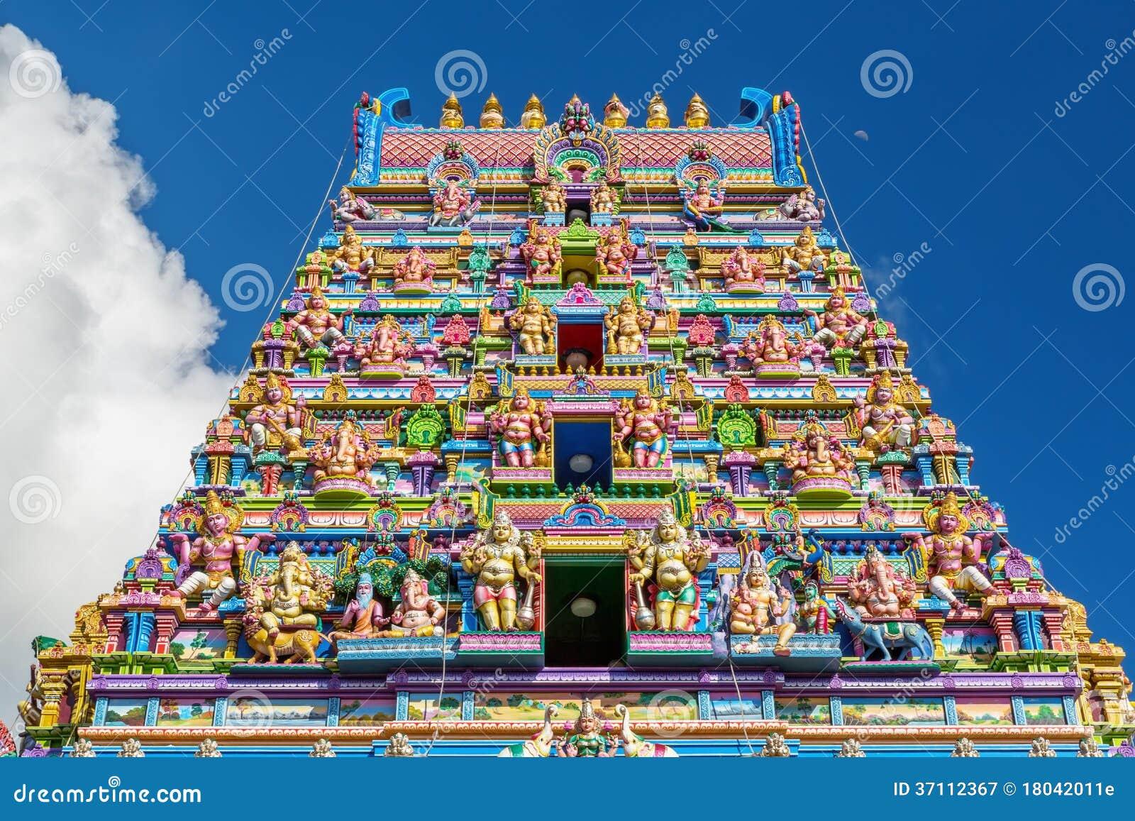 印度寺庙的门面在维多利亚,塞舌尔群岛