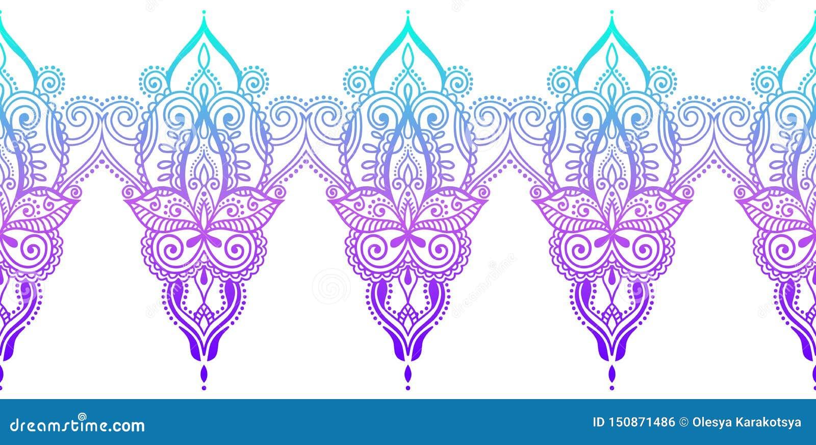 印度无缝的佩兹利样式,无刺指甲花mehndi设计