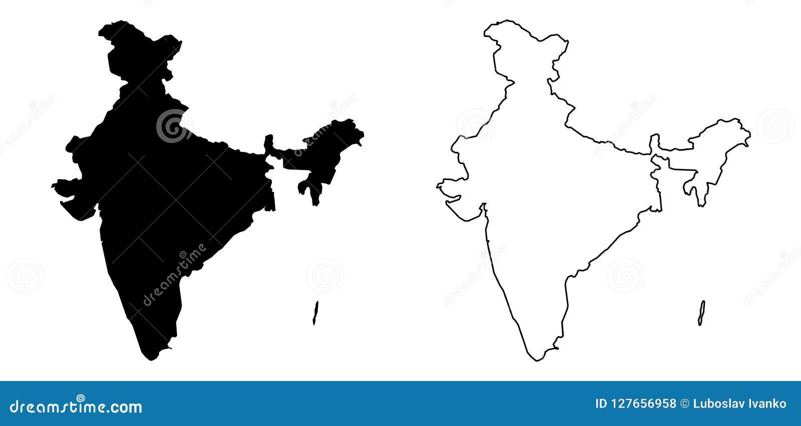 印度的仅简单的锋利的角落地图包括安达曼和