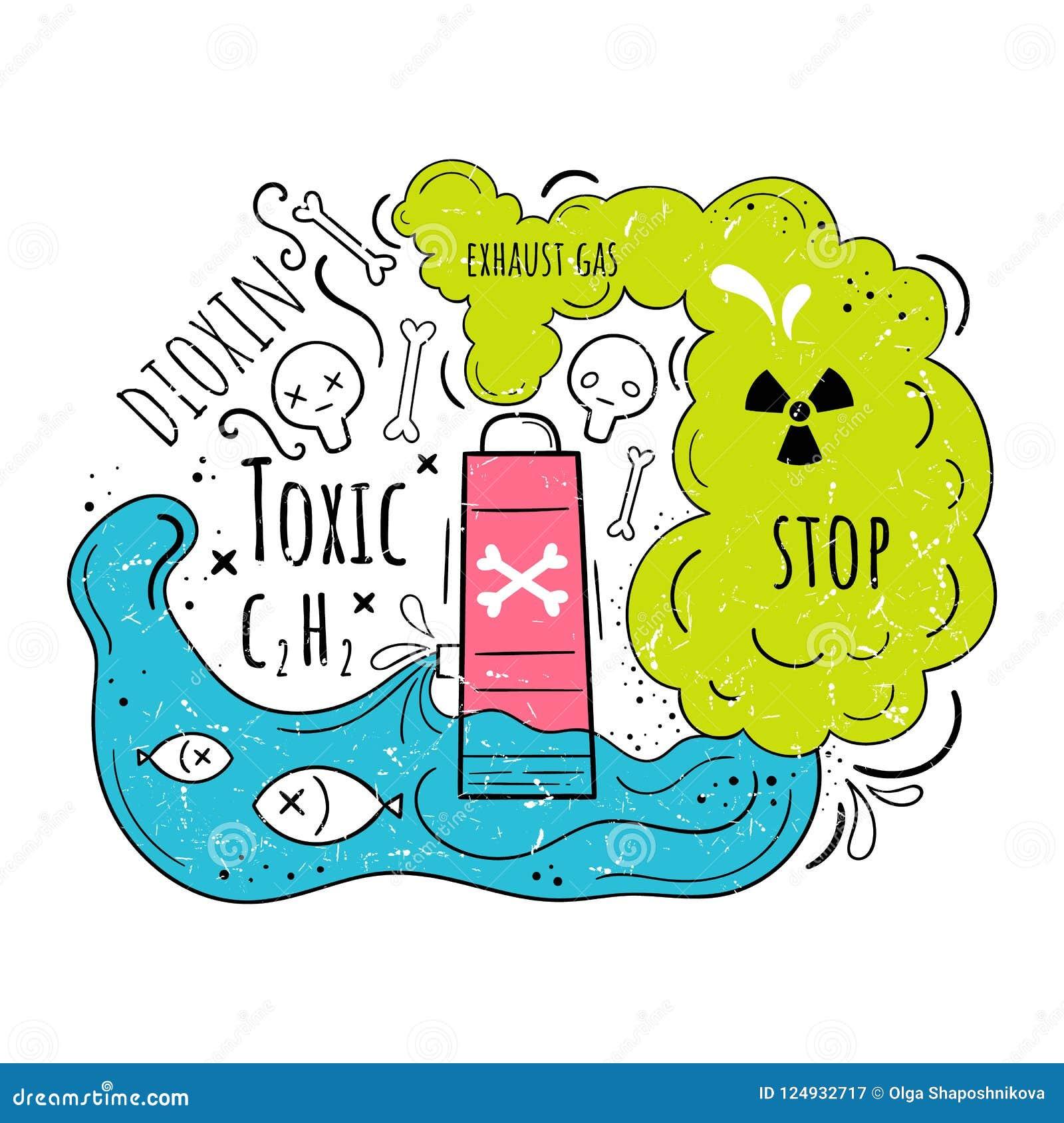 危机生态学环境照片污染 在动画片样式的传染媒介例证 生态