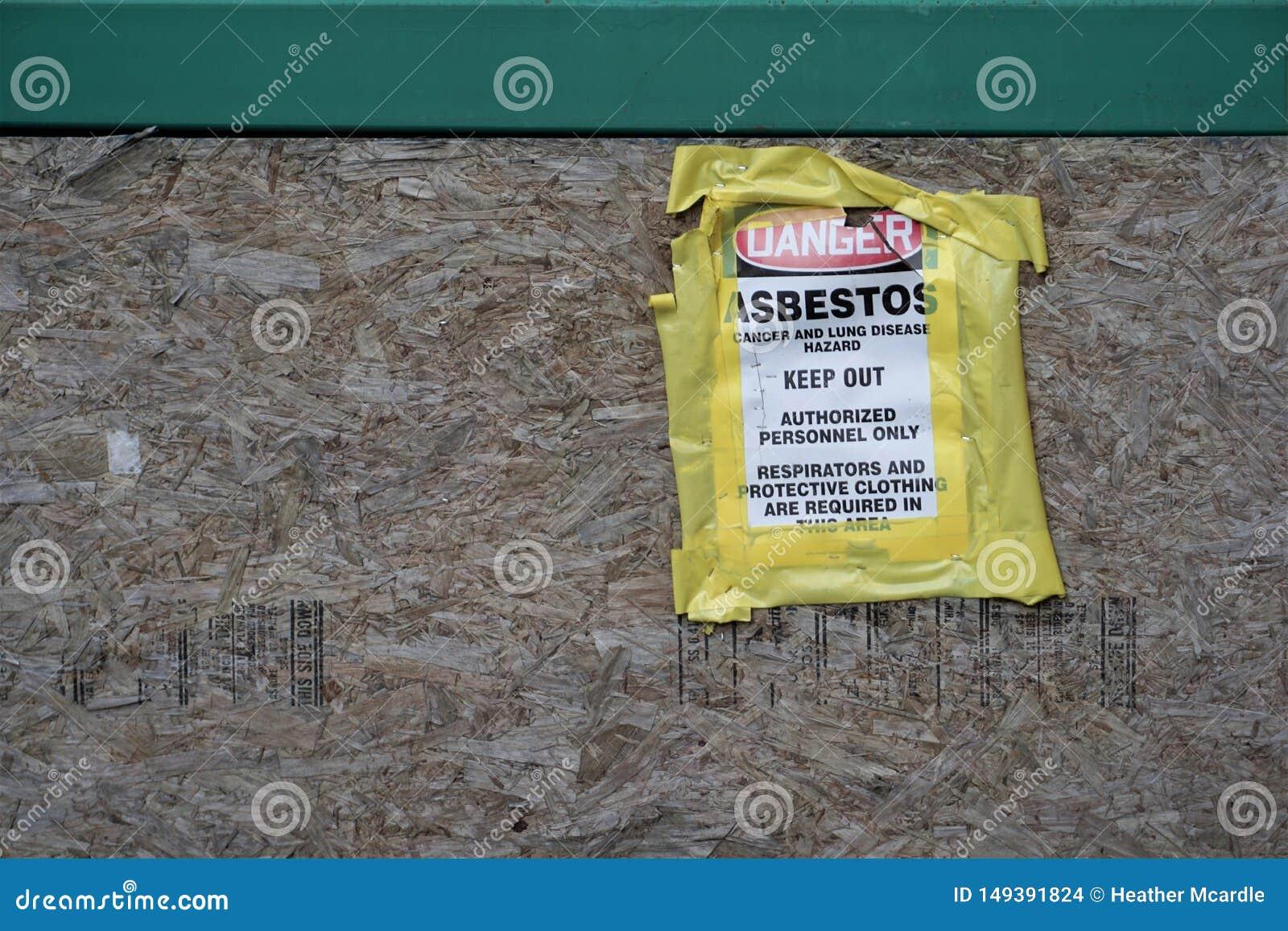 危险在颗粒盘的石棉标志