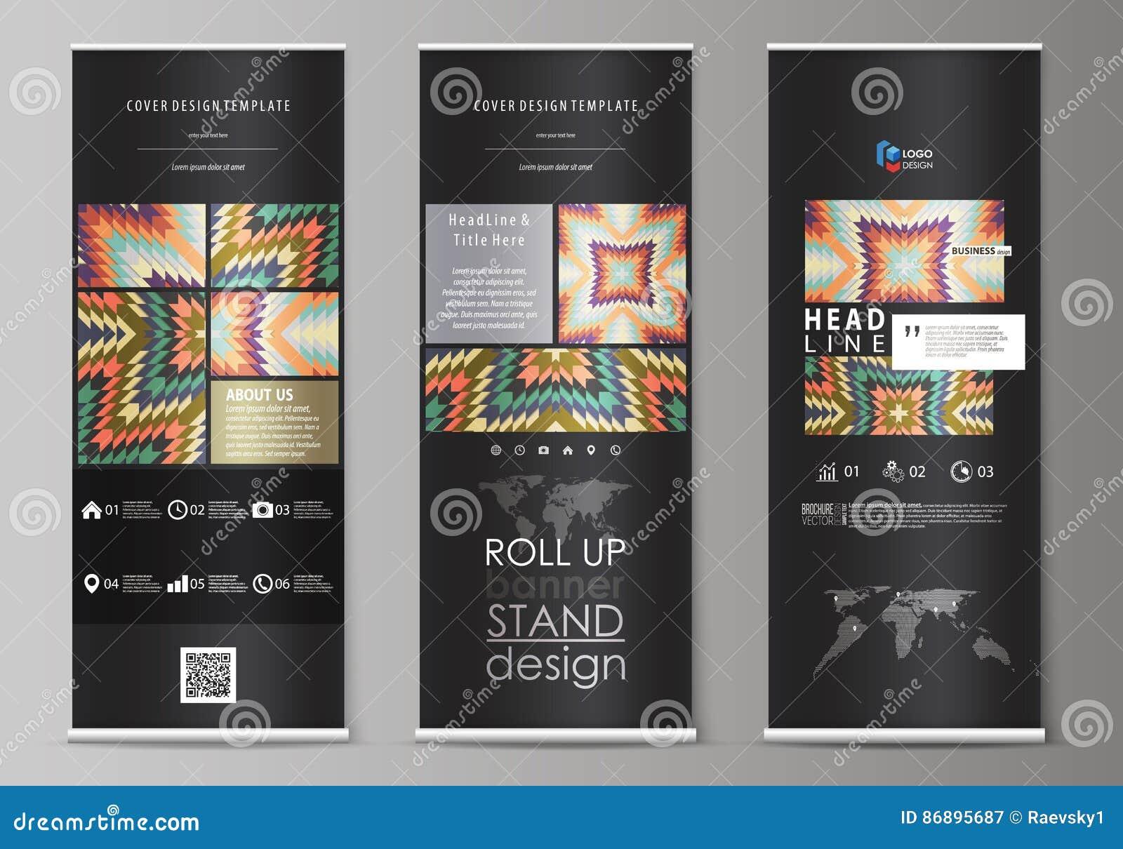 卷起横幅立场,摘要设计几何样式模板,公司垂直的传染媒介飞行物,旗子布局 部族