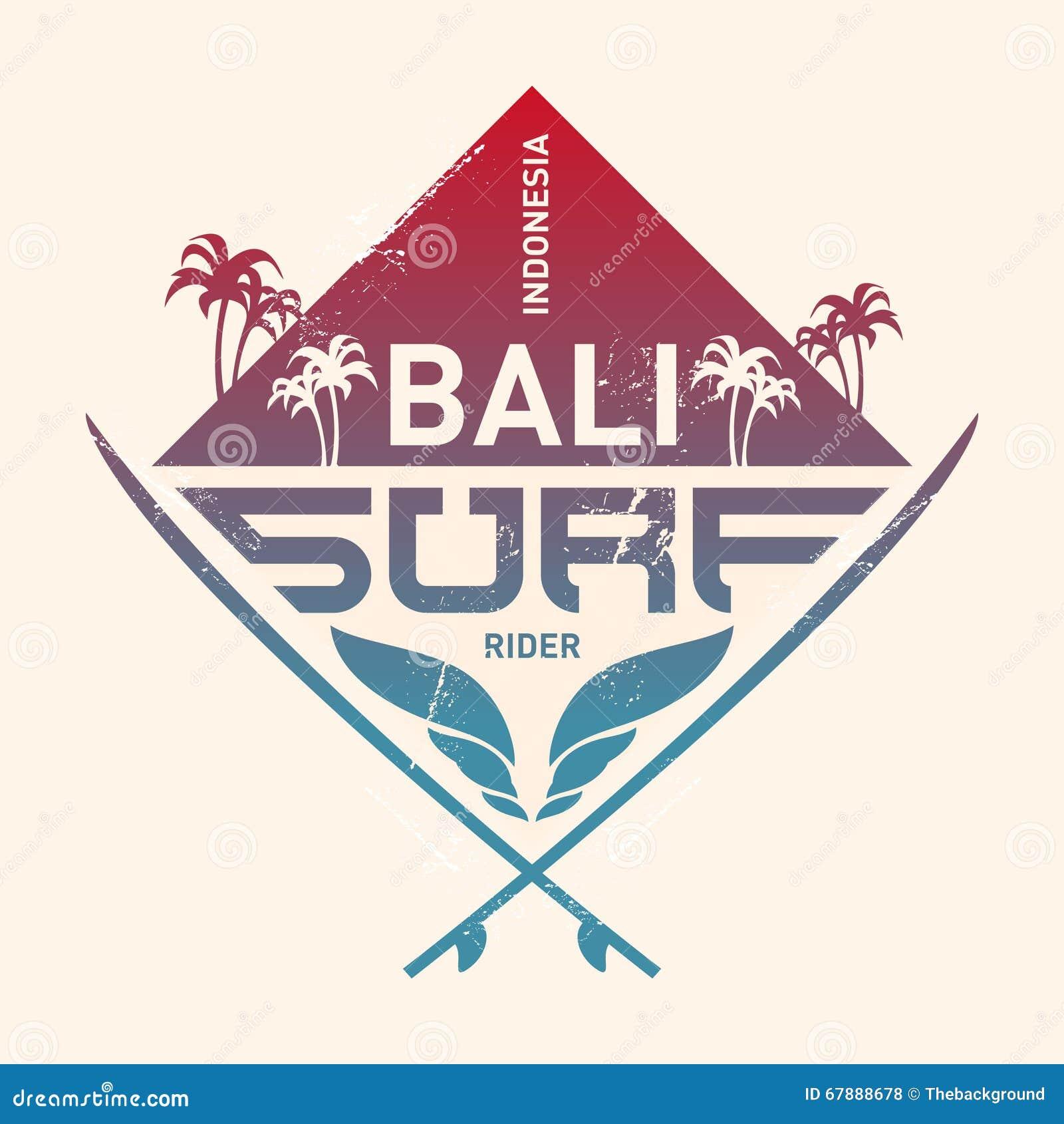 巴厘岛海浪车手,印度尼西亚 与波浪的冲浪的葡萄酒标签, pa