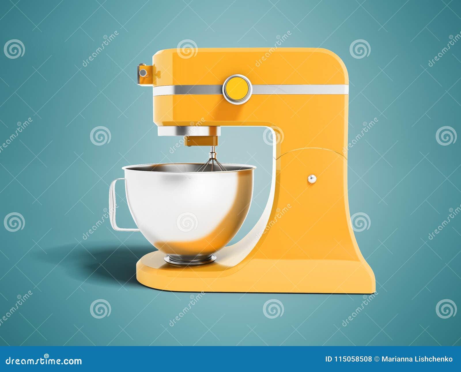 厨房黄色的现代多功能搅拌器与金属在蓝色背景的碗3d翻译与阴影