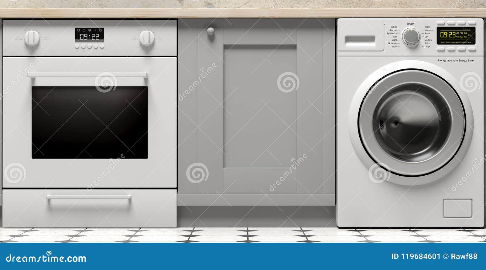 厨柜、电烤箱和衣裳洗衣机在铺磁砖的地板上 3d例证