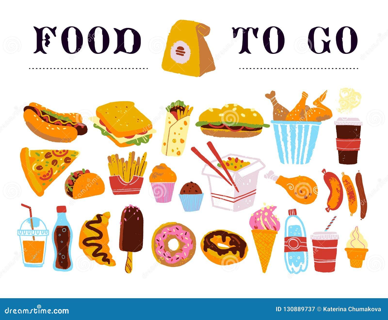 去的便当的传染媒介手拉的收藏-咖啡,热狗,三明治,汉堡,铁锅,鸡,油煎等 隔绝在白色ba