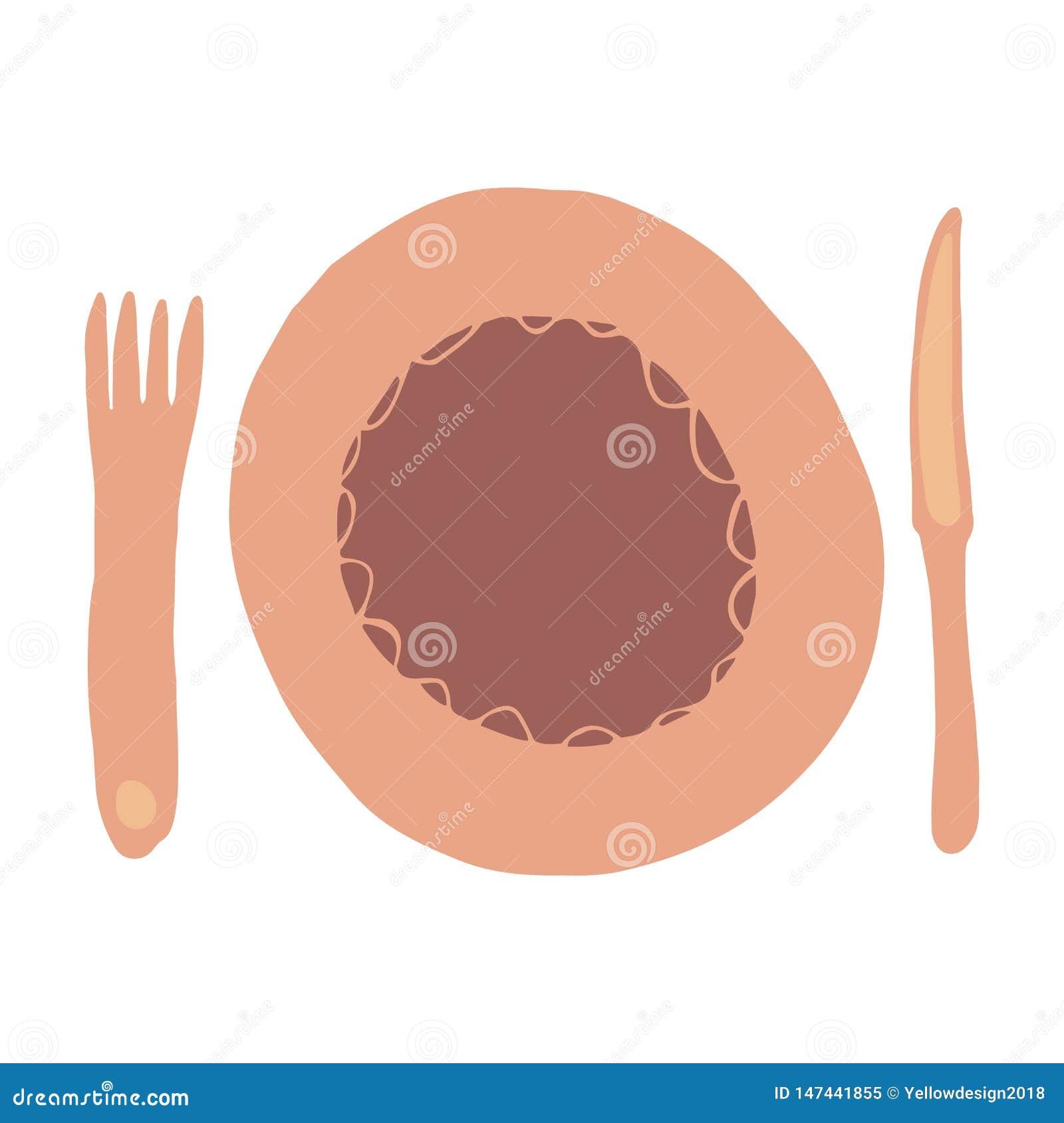 叉子、刀子、匙子和板材 徒手画的手拉的碗筷