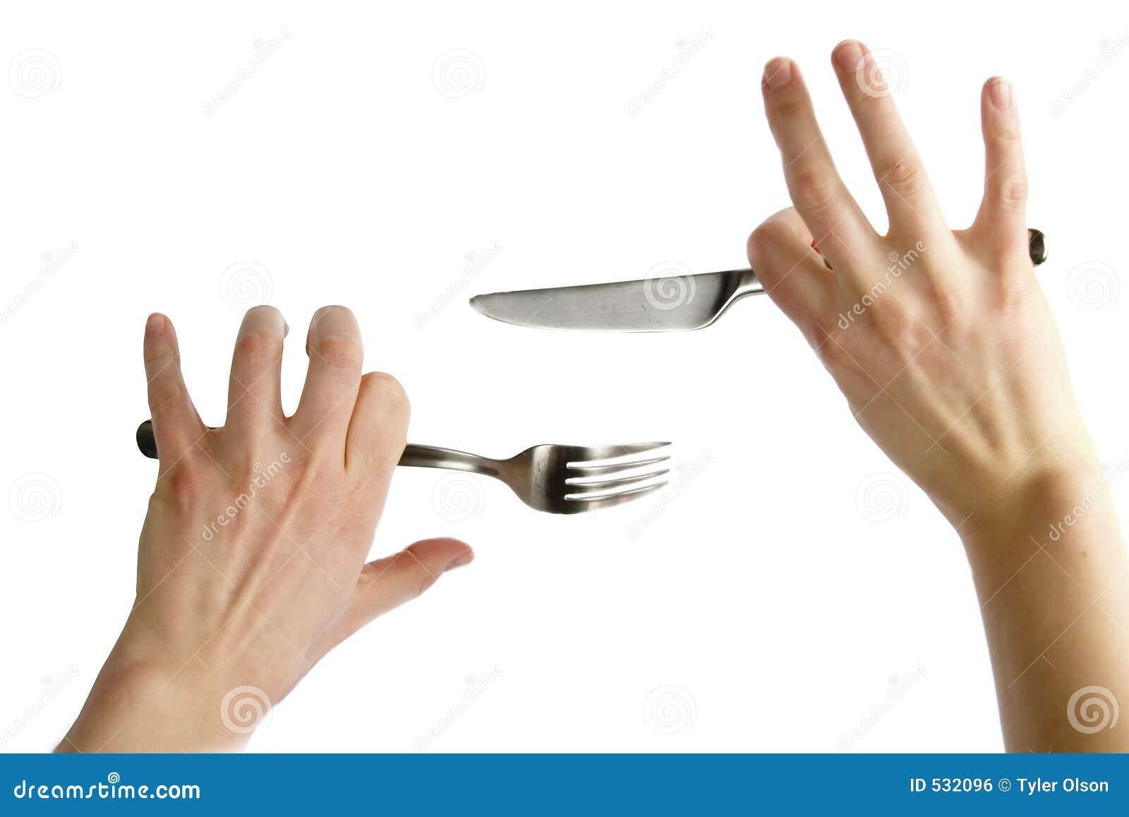 Download 叉子刀子 库存照片. 图片 包括有 扁平的餐具, 黄油, 叉子, 概念性, 不耐烦, 不安定, 拳头, 暂挂 - 532096