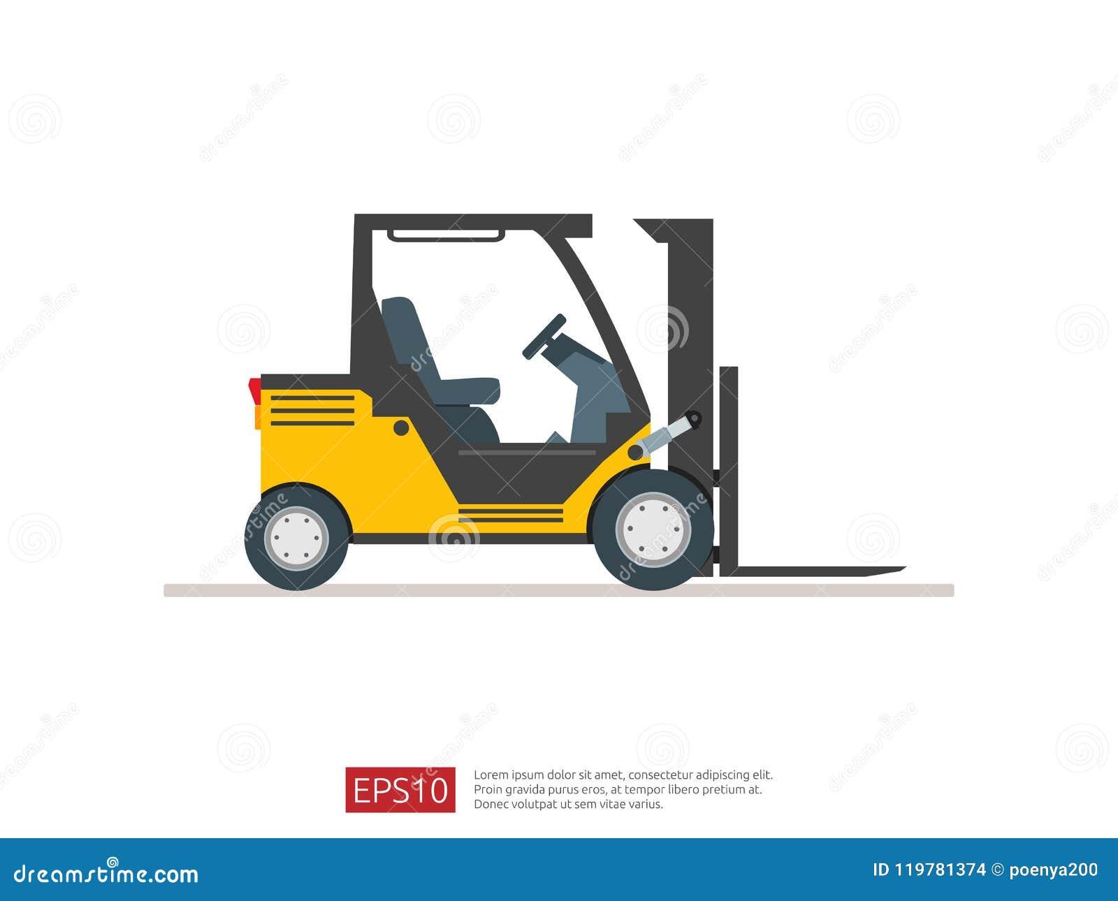叉架起货车传染媒介例证 仓库叉子装载者象模板 供应存贮服务的, logisti送货卡车标志