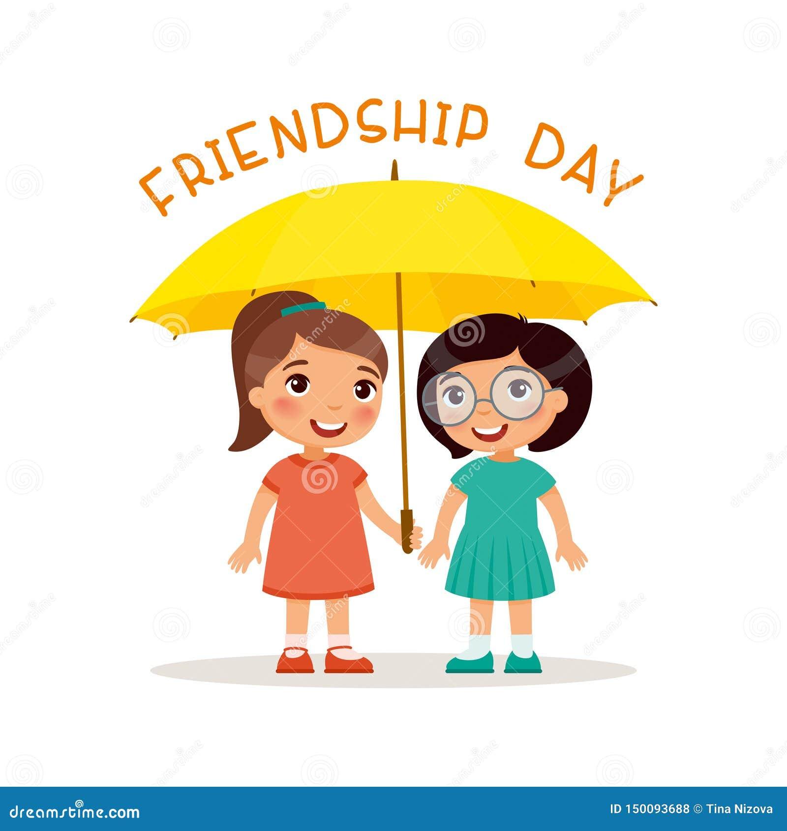 友谊天 两逗人喜爱的女孩站立与一把黄色伞