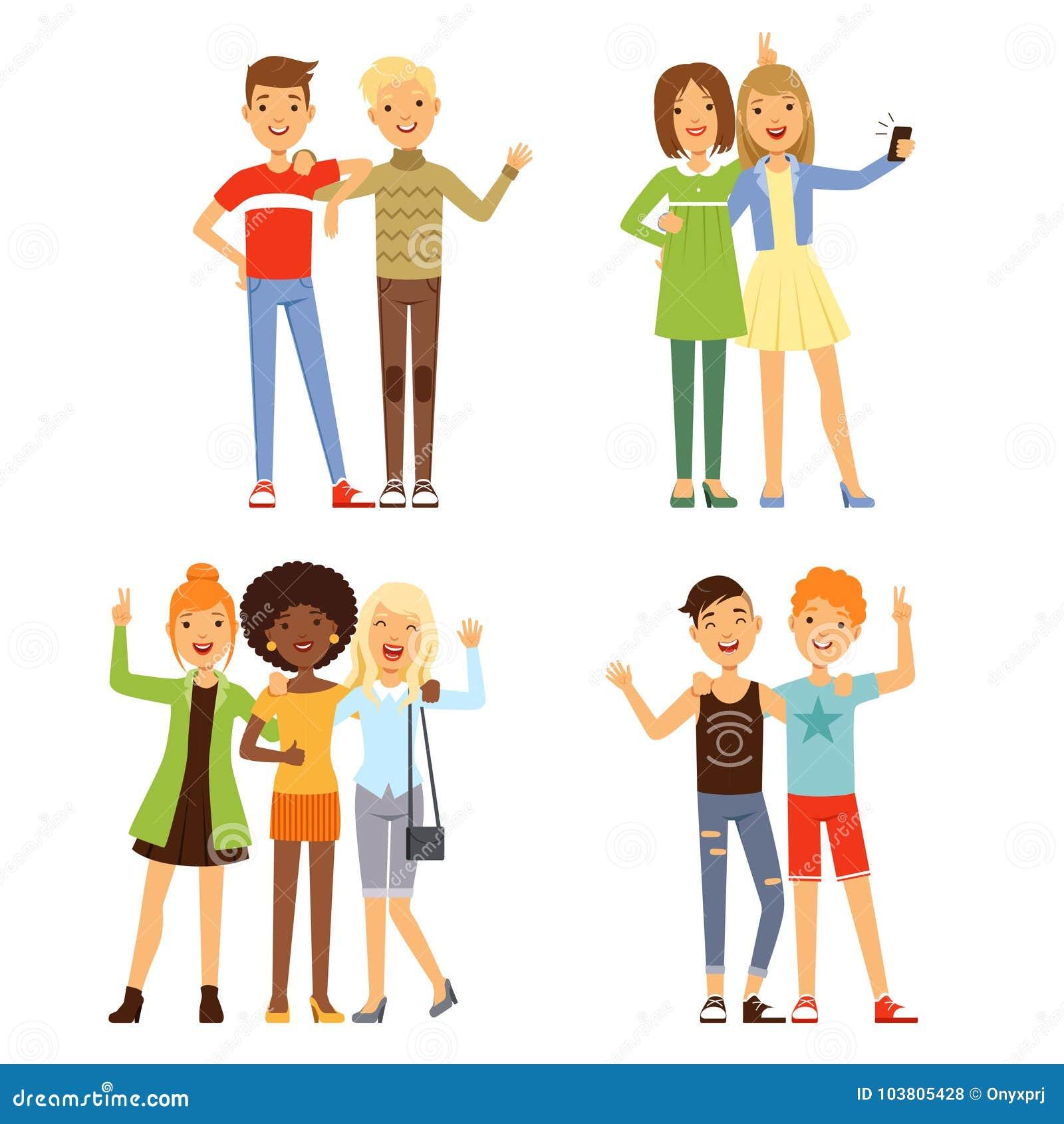 友谊的例证 不同的男性和女性朋友 友好的小组