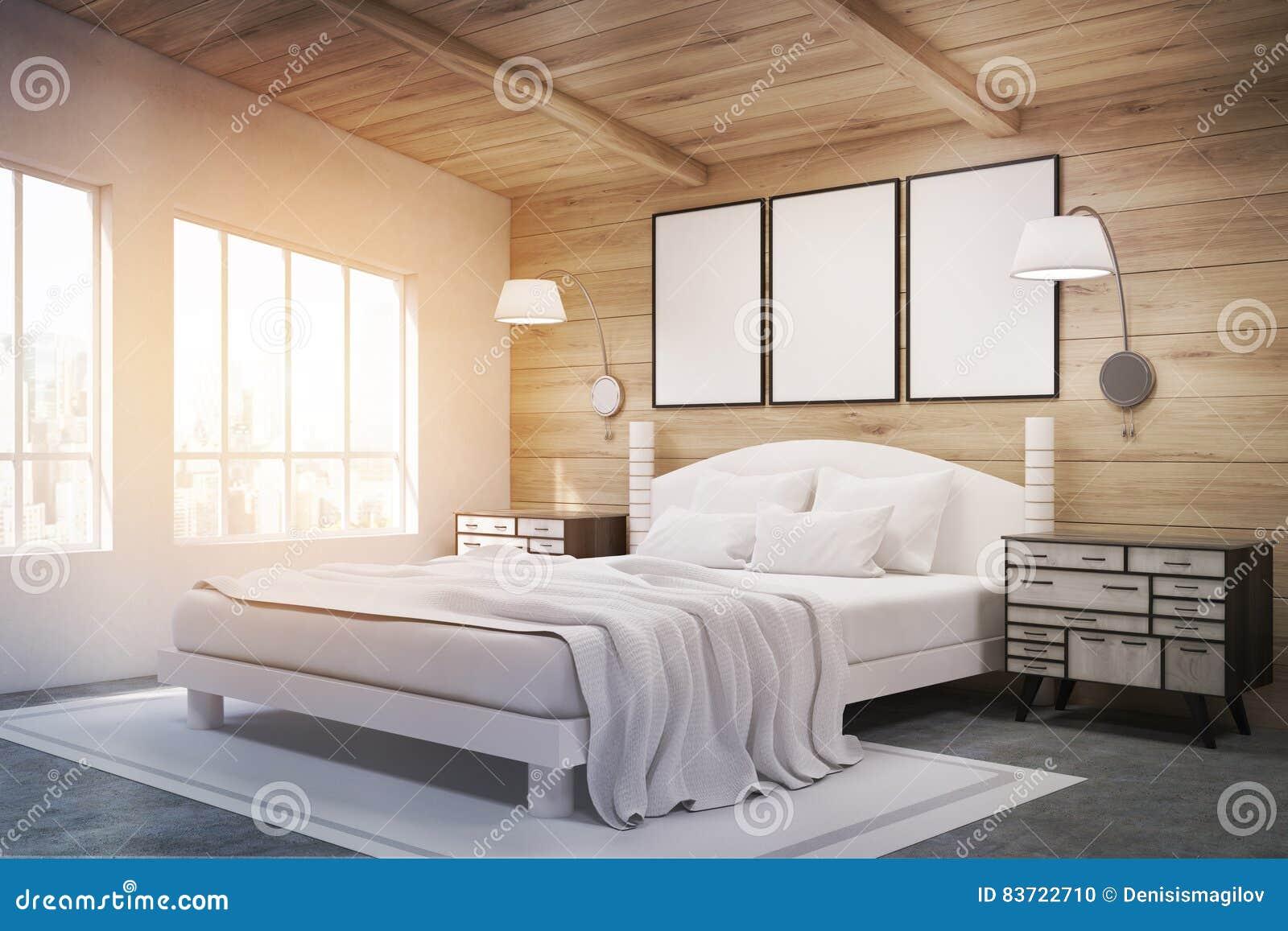 双人床侧视图与灯的,被定调子