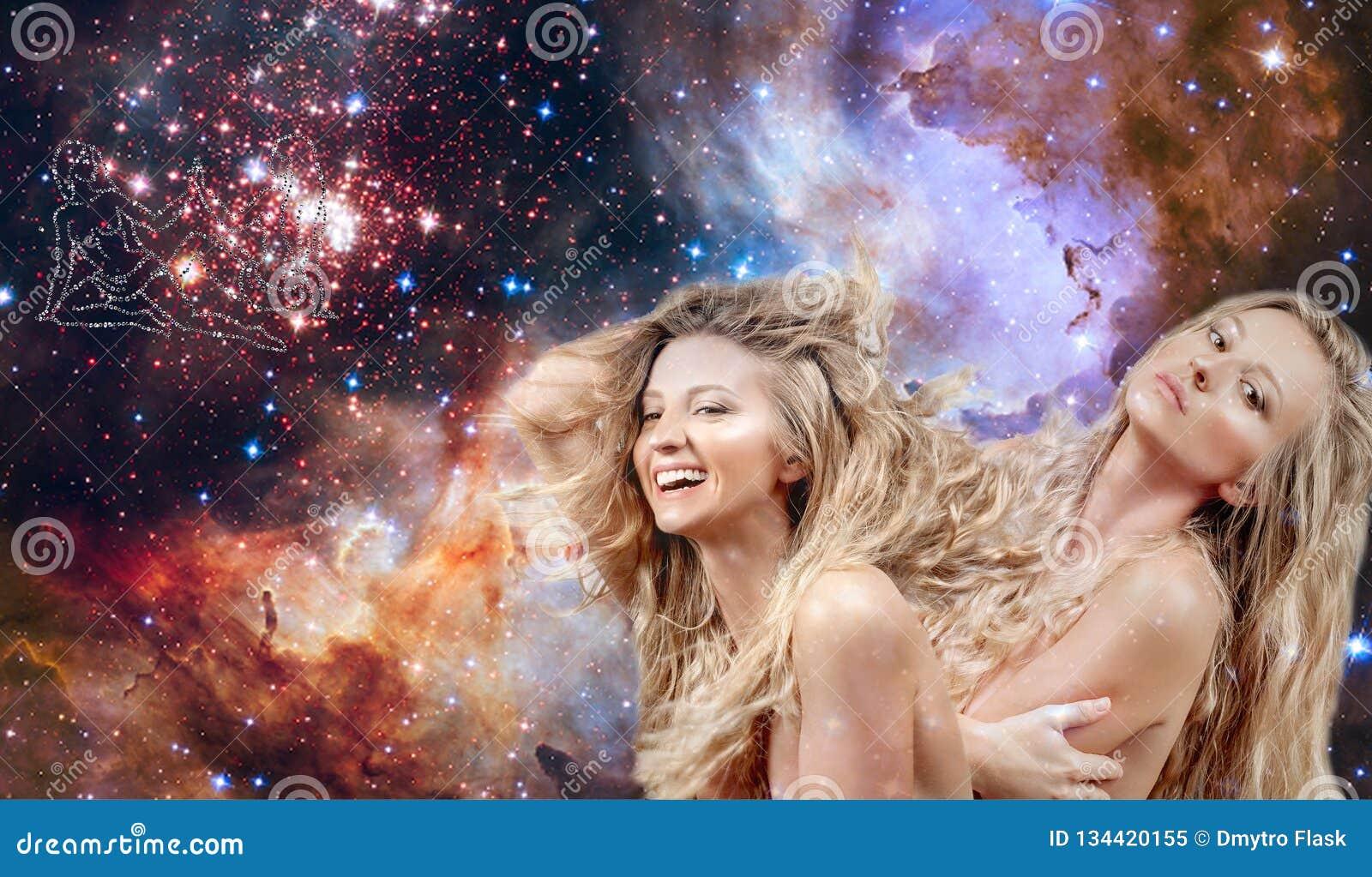 双子星座黄道带标志 占星术和占星,星系背景的美女双子星座