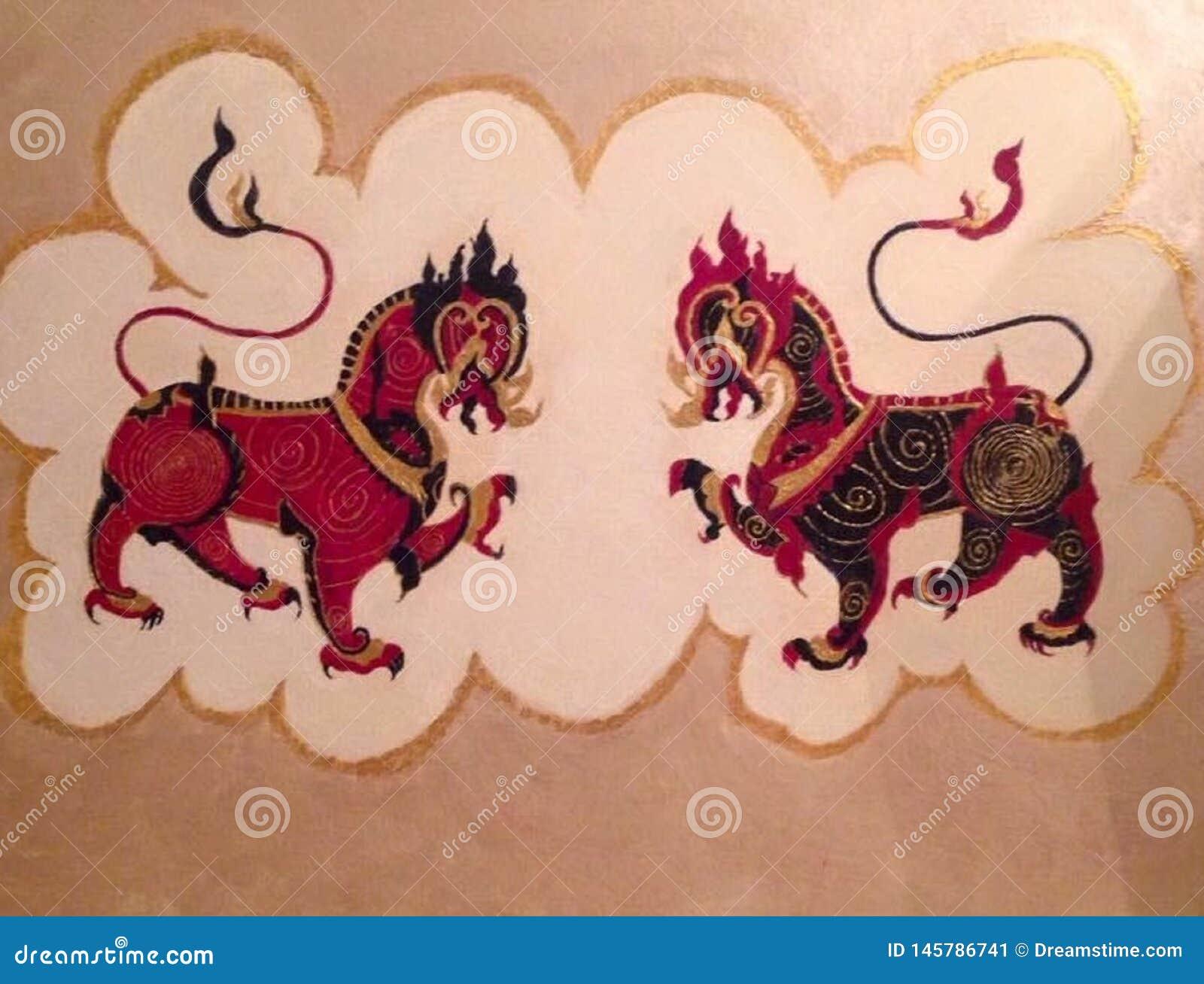 双龙会,双狮子,虚构物妖怪,神话