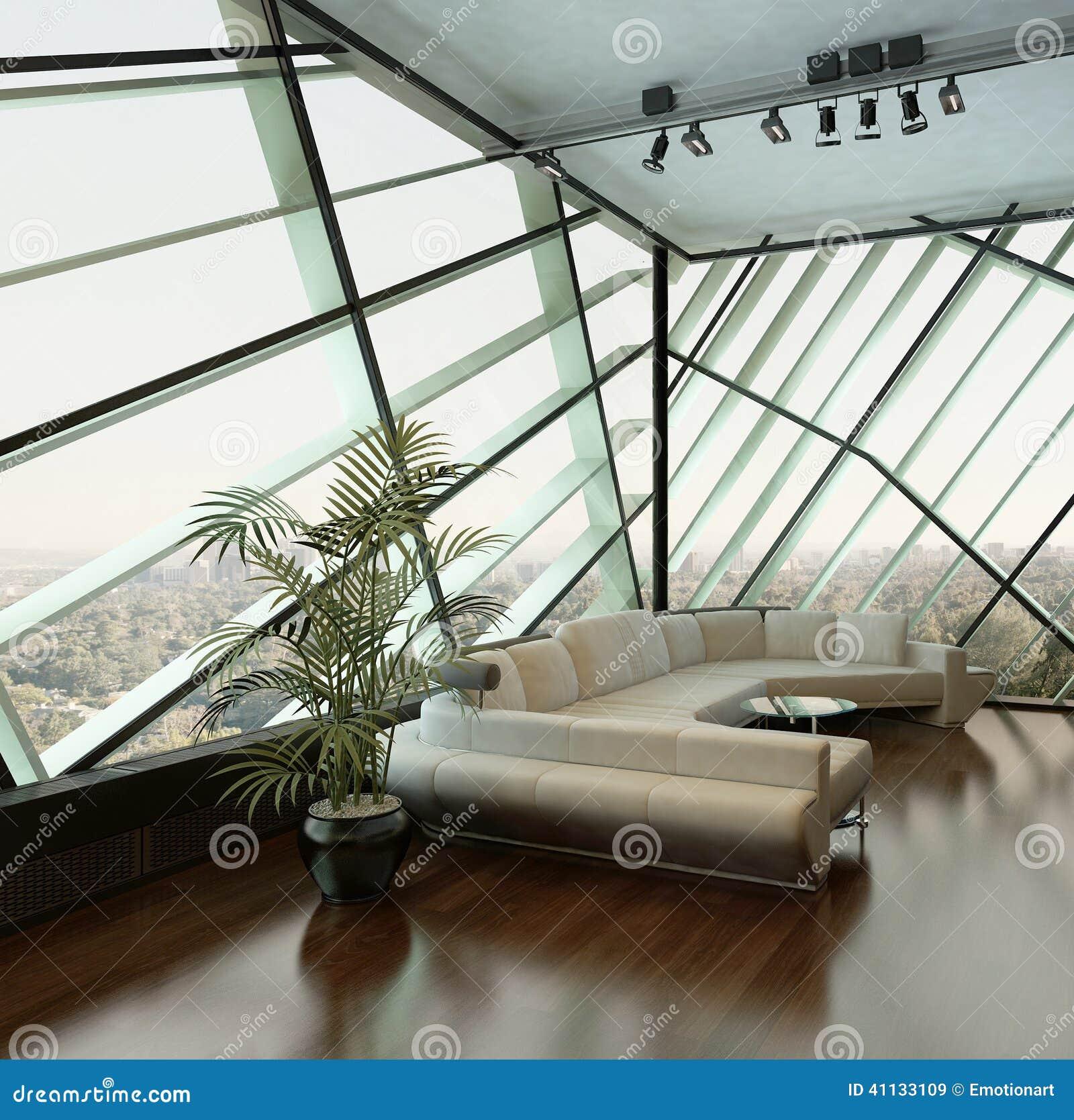 反对侈奢的设计窗口的米黄长沙发