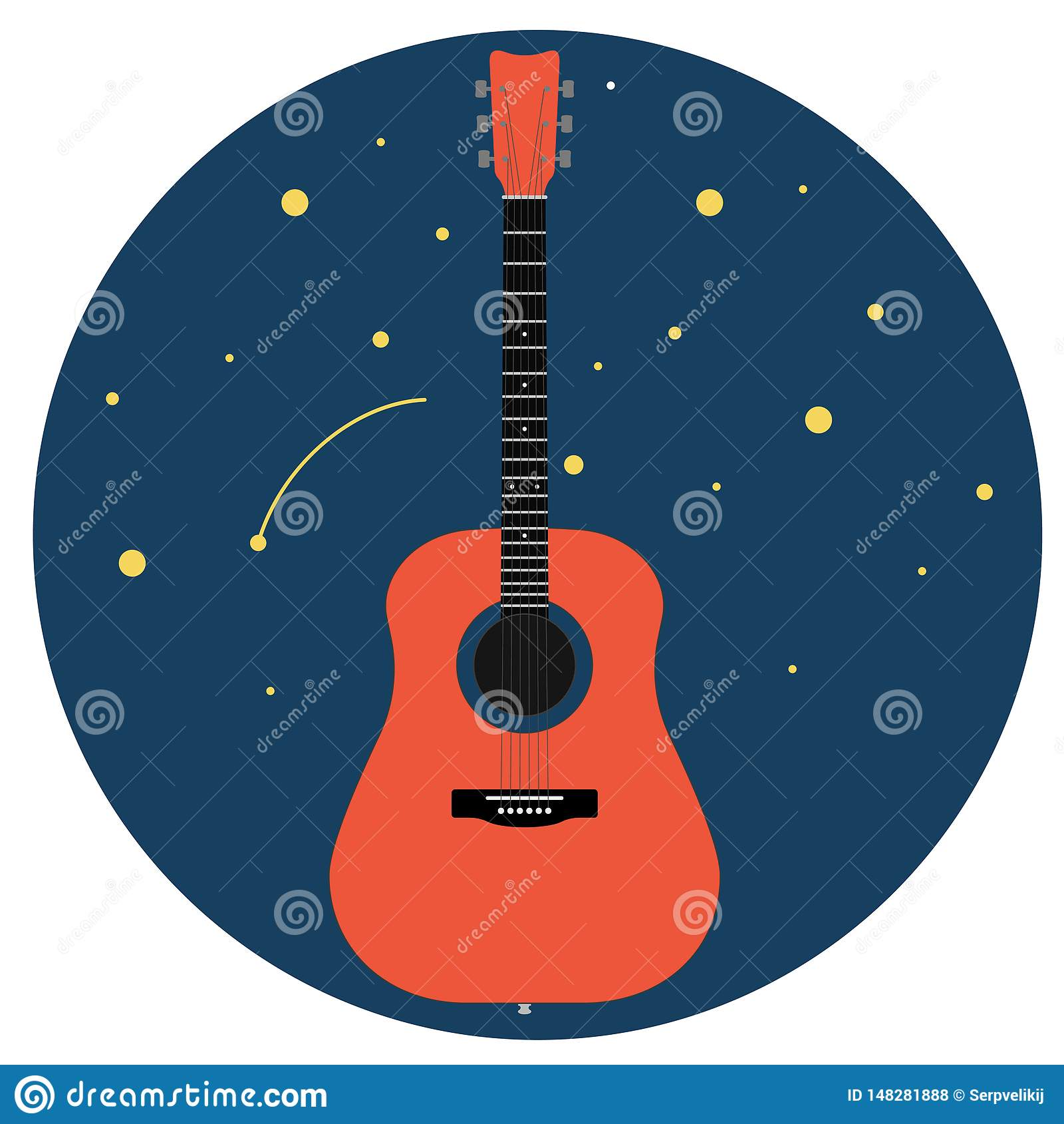反对在白色背景传染媒介例证隔绝的满天星斗的天空的声学吉他