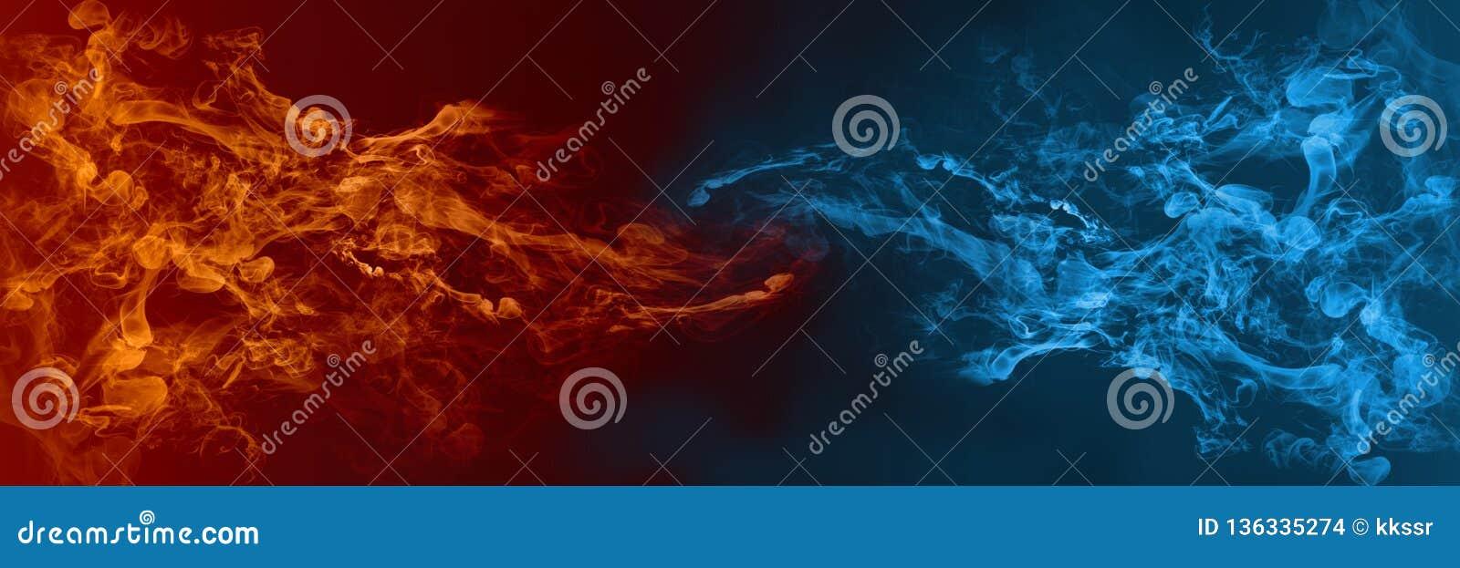 反对对彼此的抽象火和冰元素背景 热和冷的概念