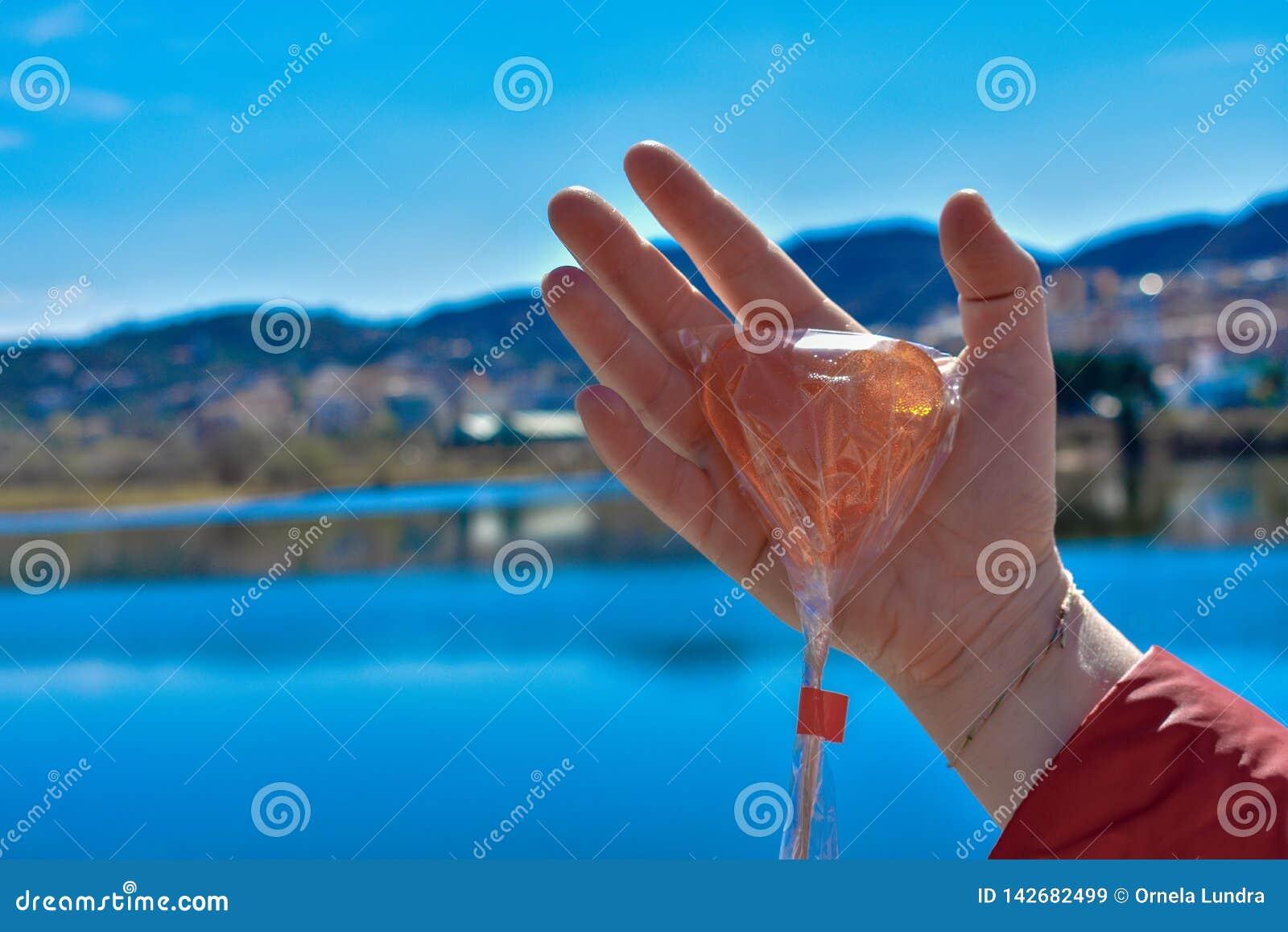反对湖的一个人的手藏品棒棒糖