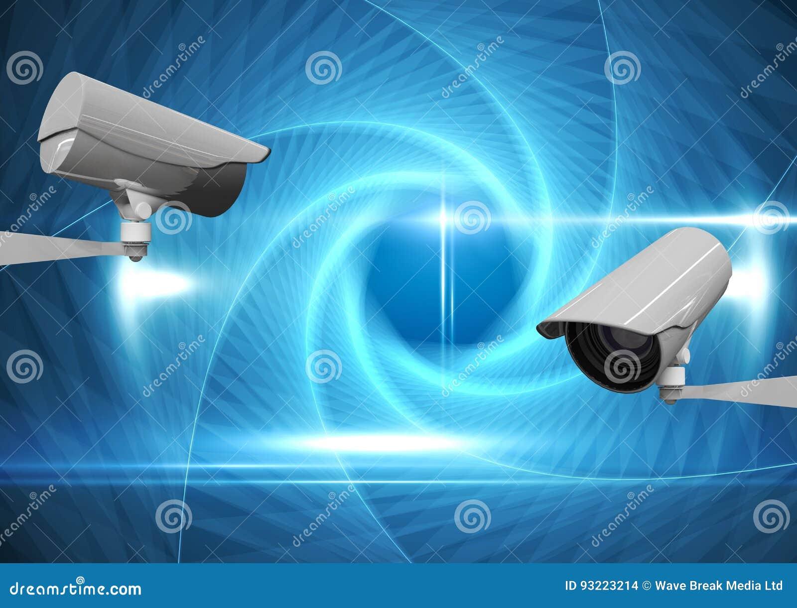 反对蓝色抽象背景的CCTV照相机