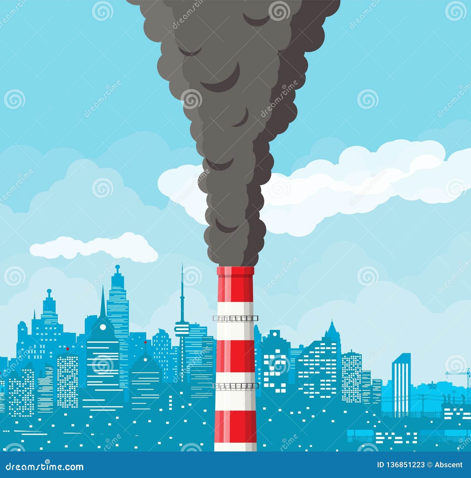 反对都市风景明白天空的抽烟的工厂管子