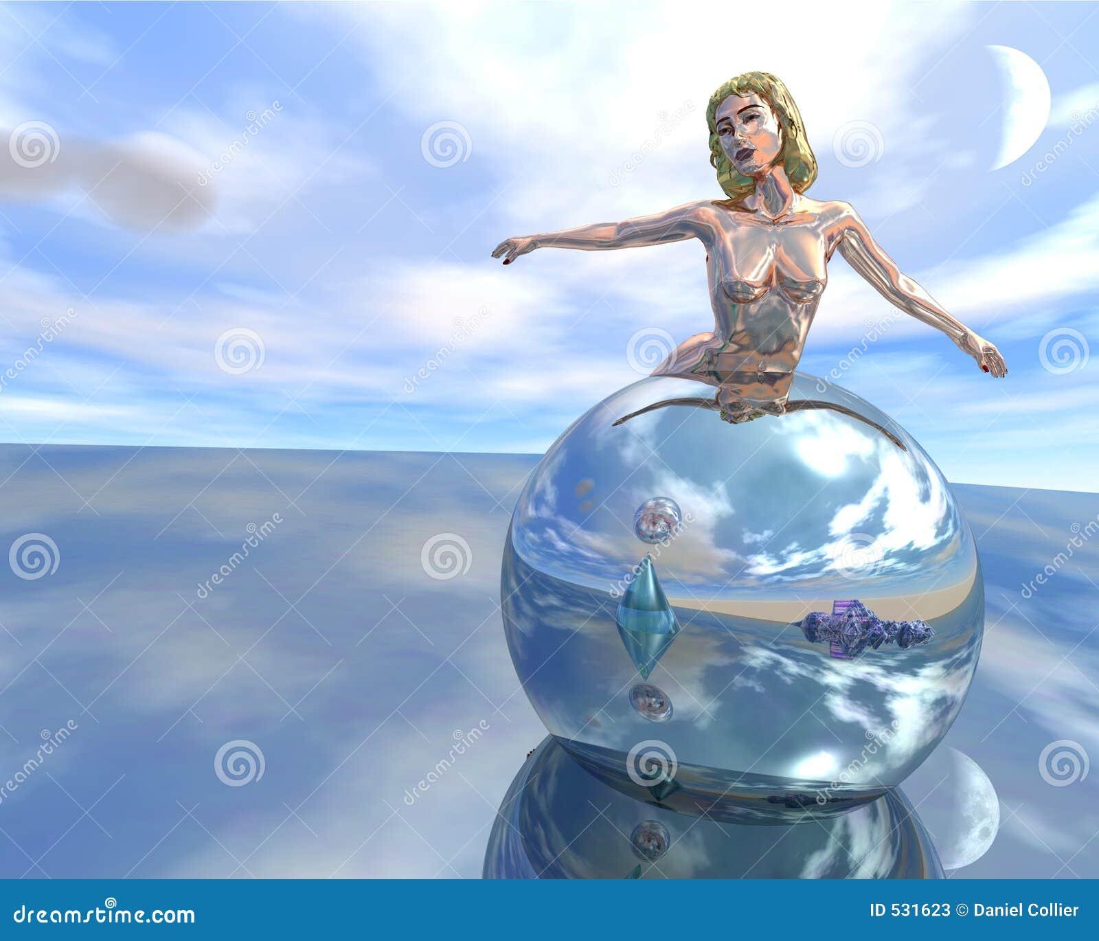 Download 反射的妇女 库存例证. 插画 包括有 装饰, 夫人, 女性, 雕象, 玻璃, 蓝色, 云彩, 镜子, 海洋, 疏远 - 531623