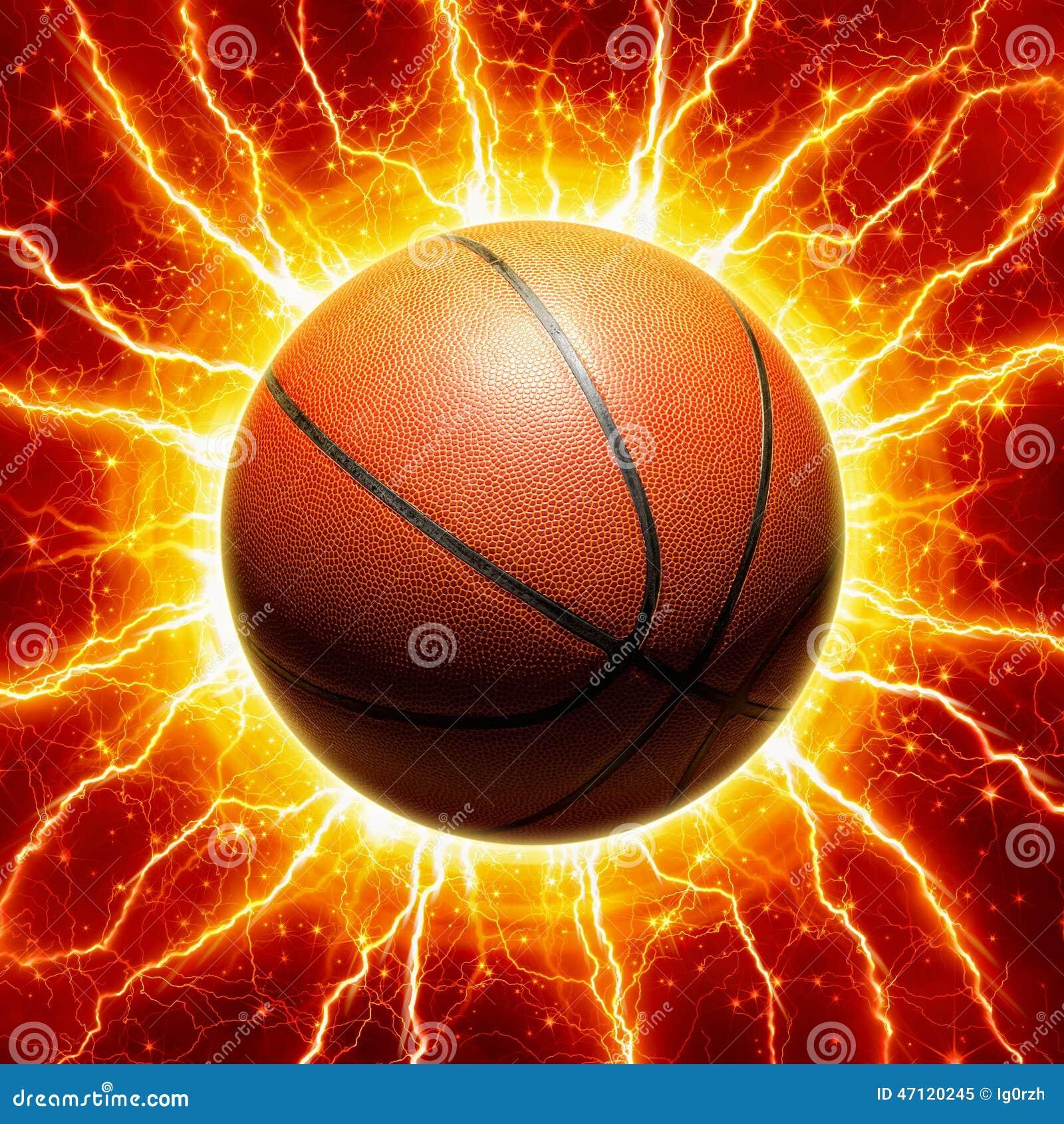 发光的篮球,染黄闪电和星在红色背景.